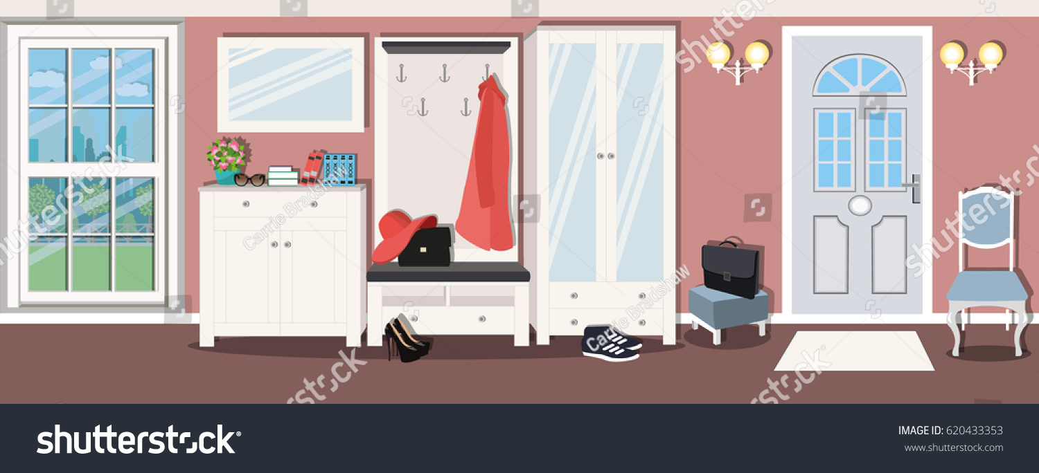 Entrance Hall Interior Design In The House. Stylish Comfortable Furniture.  Closet Near A Large