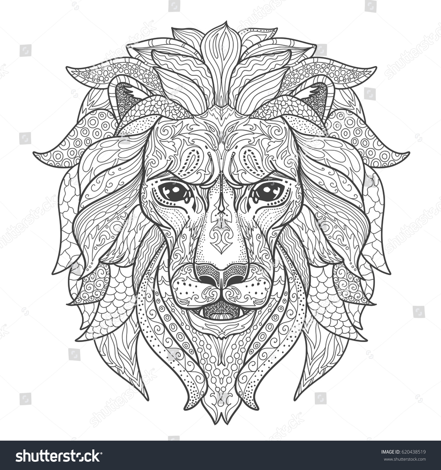 Lion Head Page Adult Coloring Book Stock Vector 620438519 - Shutterstock