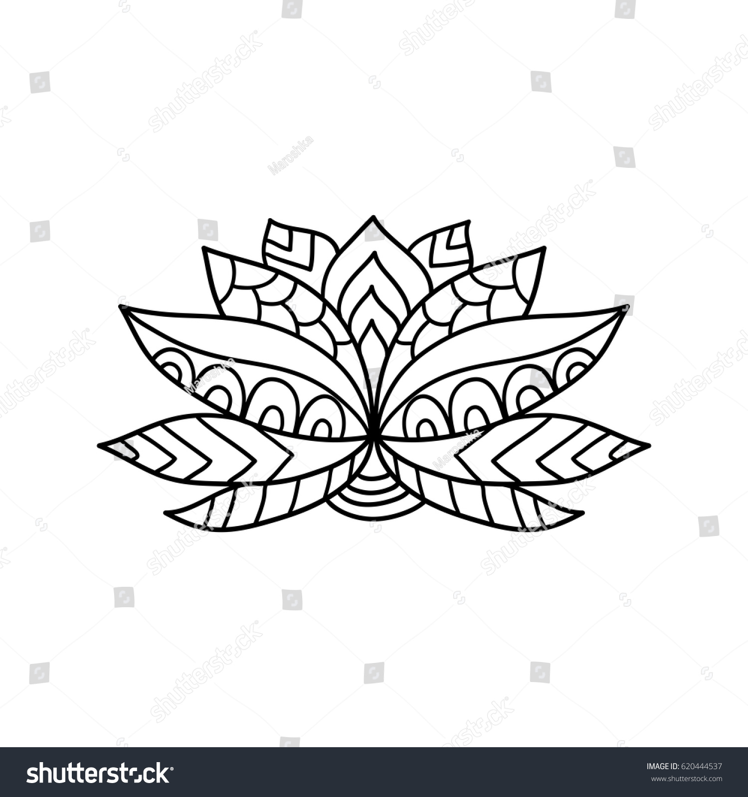 Lotus Flower Silhouette Water Lily Oriental Stock Vector Royalty