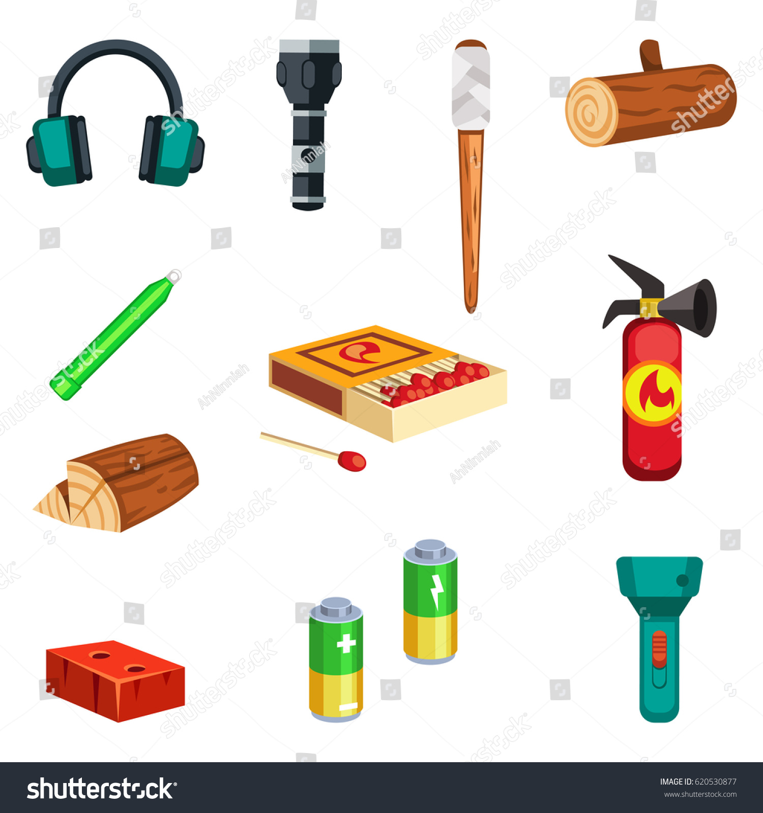 Set of cartoon survival game items lighting equipment  sc 1 st  Shutterstock & Set Cartoon Survival Game Items Lighting Stock Vector 620530877 ... azcodes.com