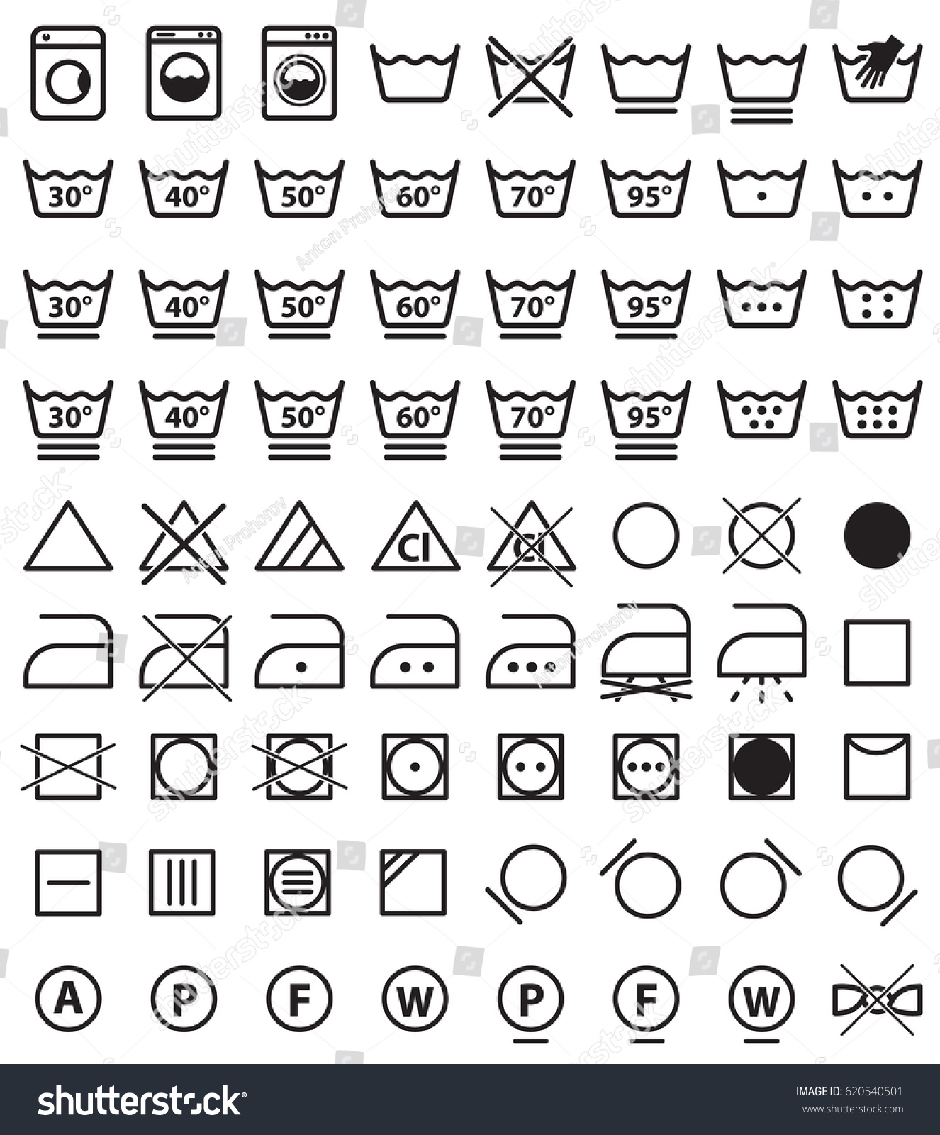 Laundry Icon Set Washing Clothes Care Stock Vector Royalty Free
