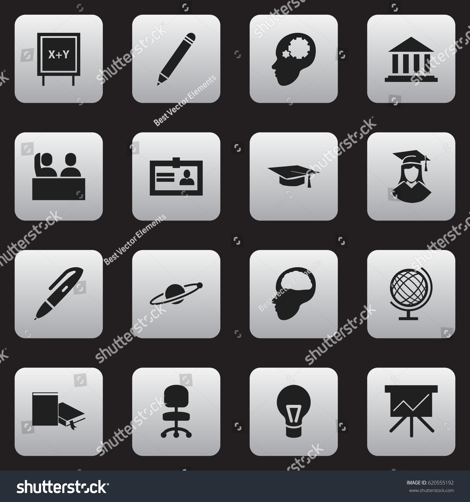 Set 16 editable university icons includes stock vector 620555192 includes symbols such as certification earth planet 1betcityfo Image collections