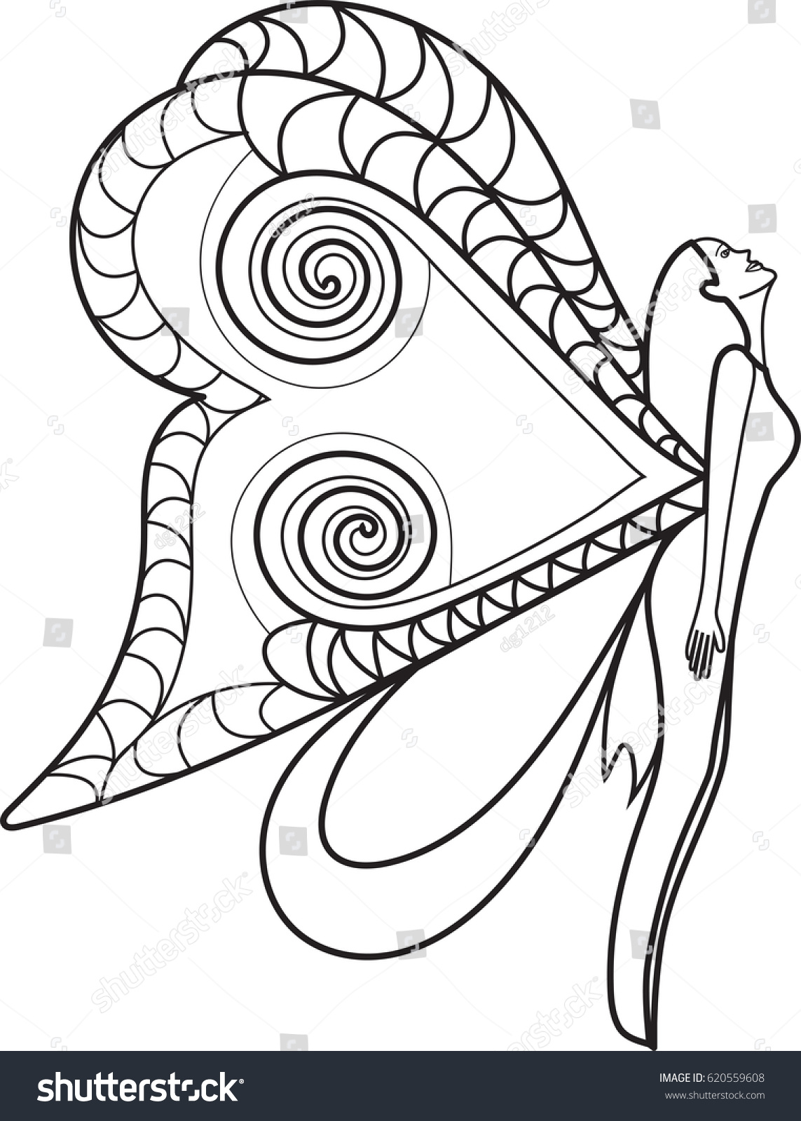 Coloring Page Butterflies Beautiful Wings Hand Draw Stock Vector ...