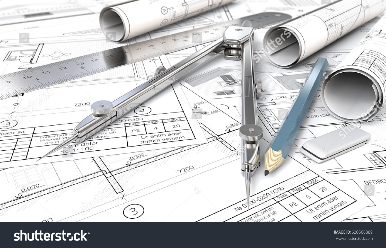Sketch Blueprint Architectural House Blueprints Drawings Stock ...