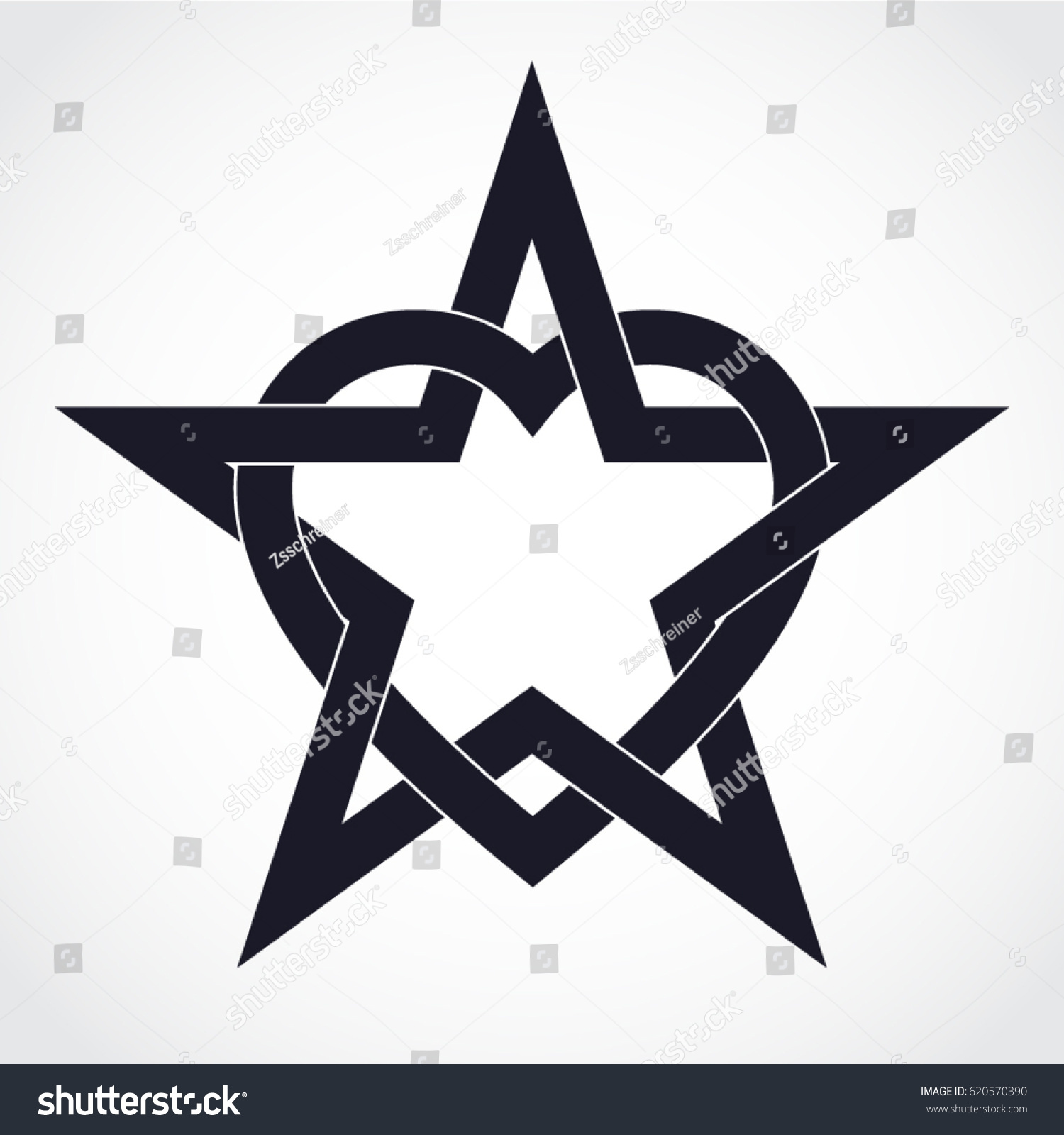 Silhouette Heart Star Symbol Stock Vector Royalty Free 620570390