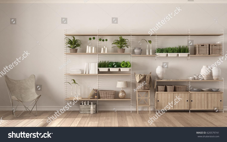 Eco white interior design wooden bookshelf stock for Interior design bookshelf arrangement