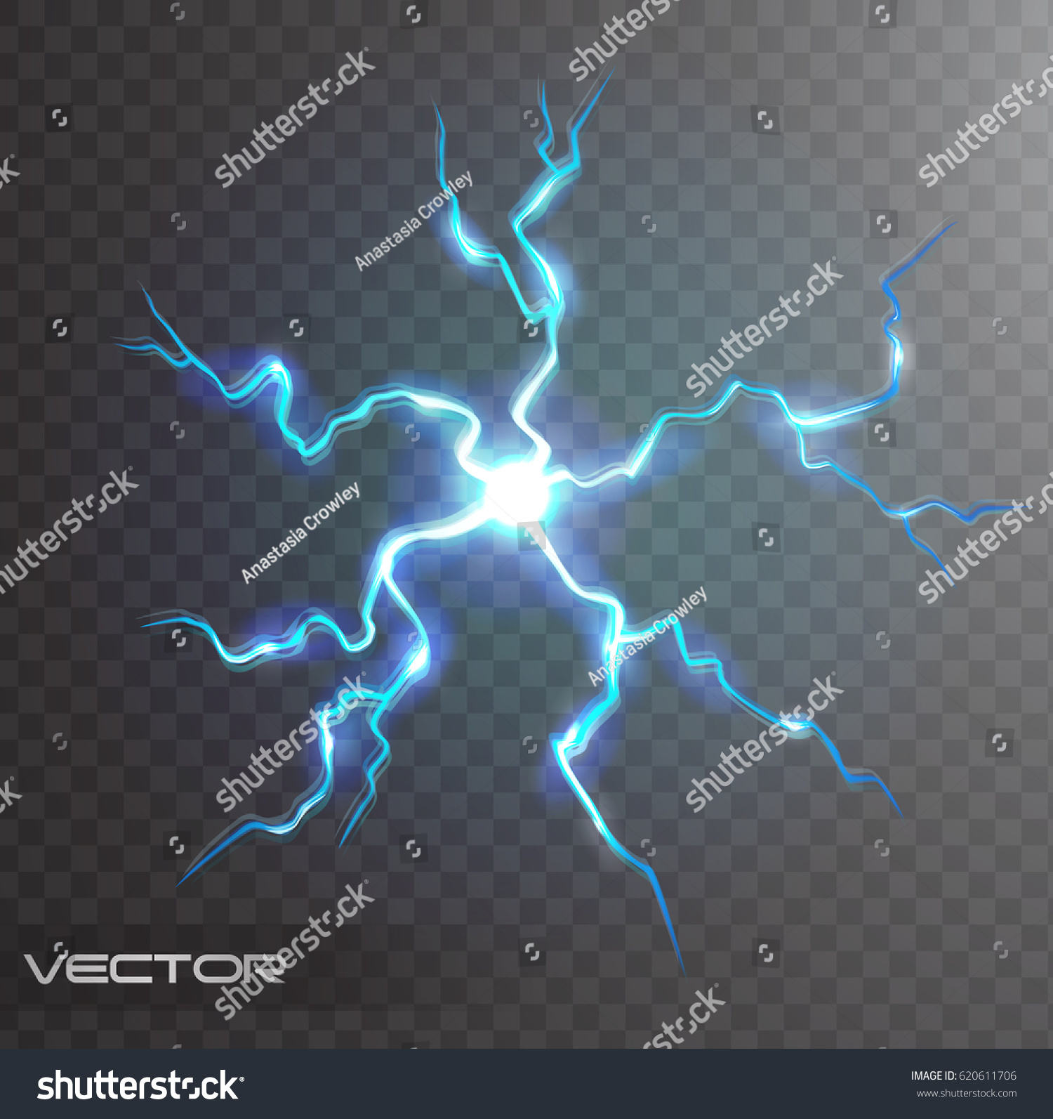 Isolated Realistic Lightning Bolt Transparency Design Stock Vector Royalty Free 620611706