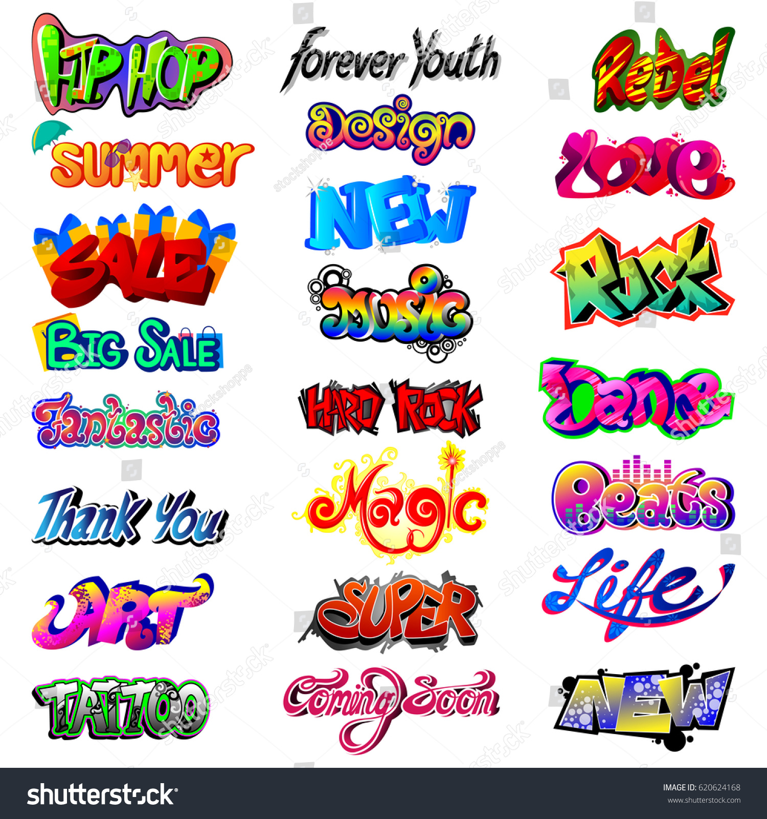 Vector illustration of stylish graffiti word text label for different word