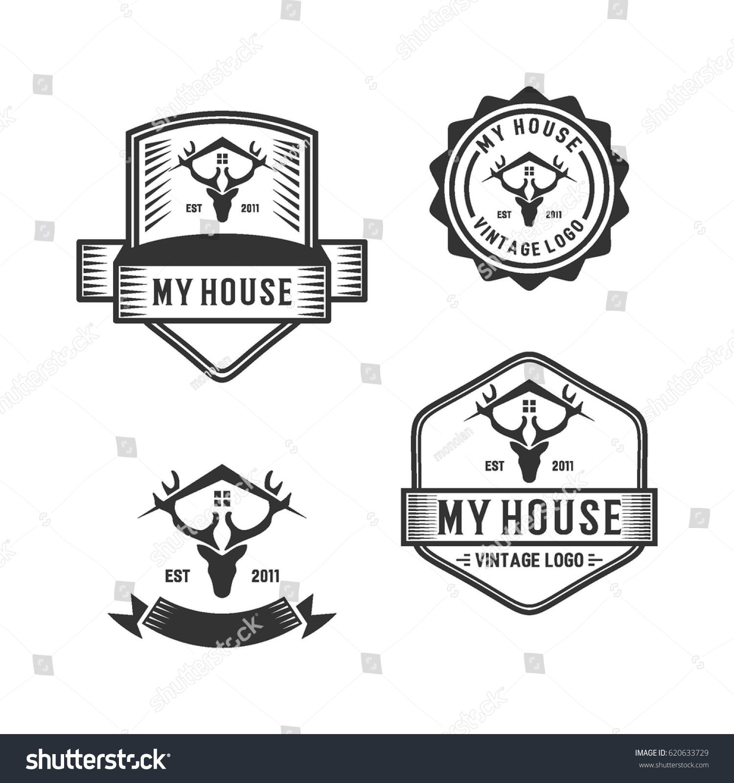 old logo badge vintage house logo のベクター画像素材 ロイヤリティ