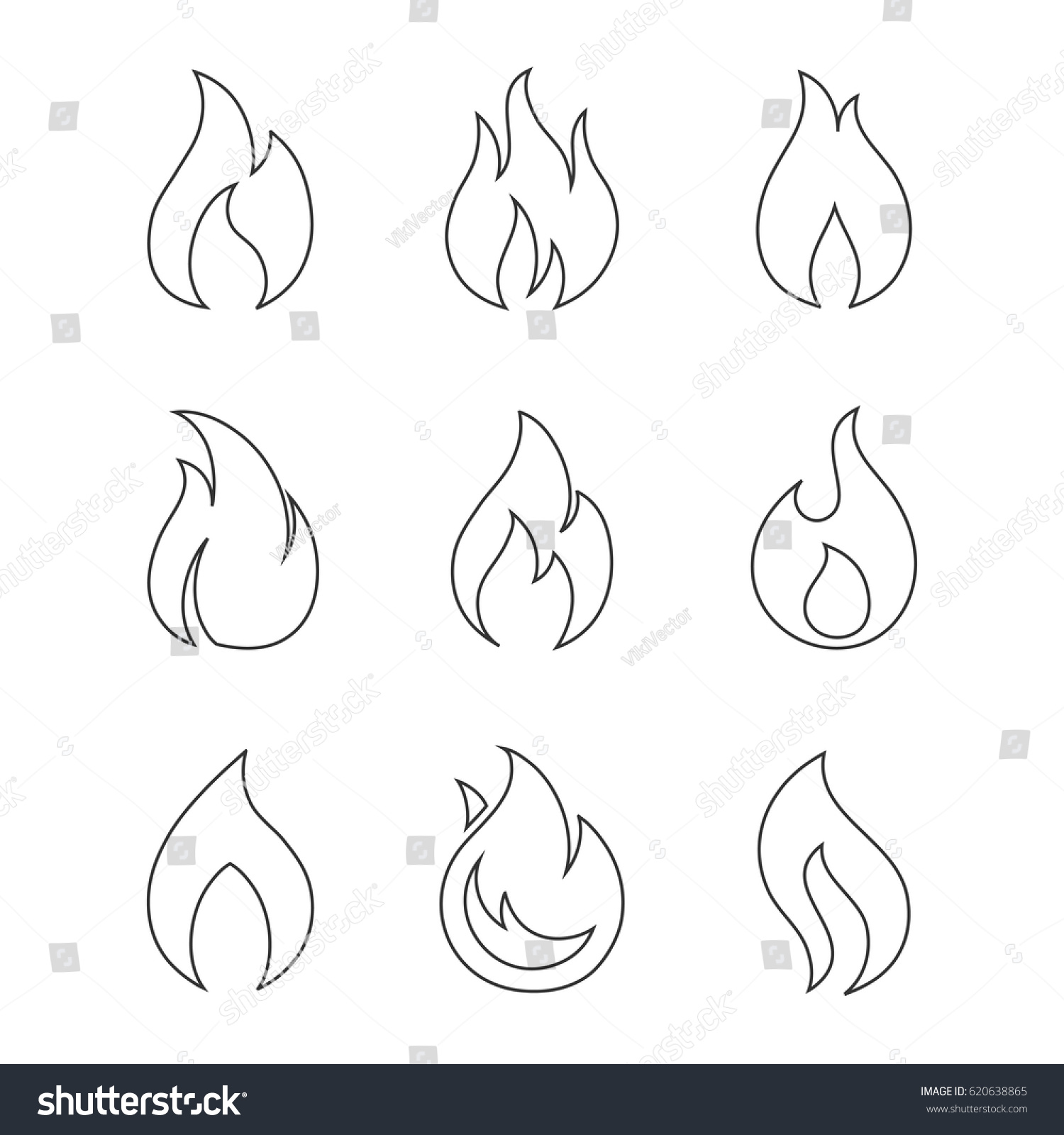 Fire Outline Icons On White Background Stock Vector ...