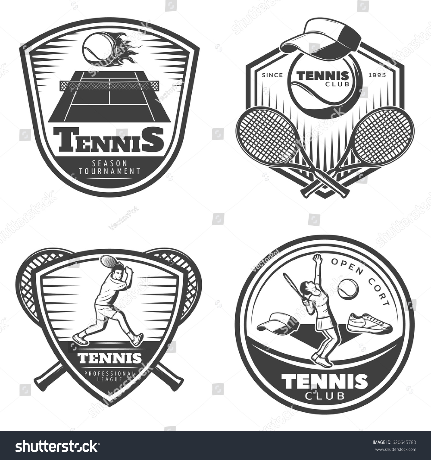 Vintage tennis emblems set flaming ball stock vector 620645780 vintage tennis emblems set with flaming ball above court sport equipment clothes and players isolated vector buycottarizona