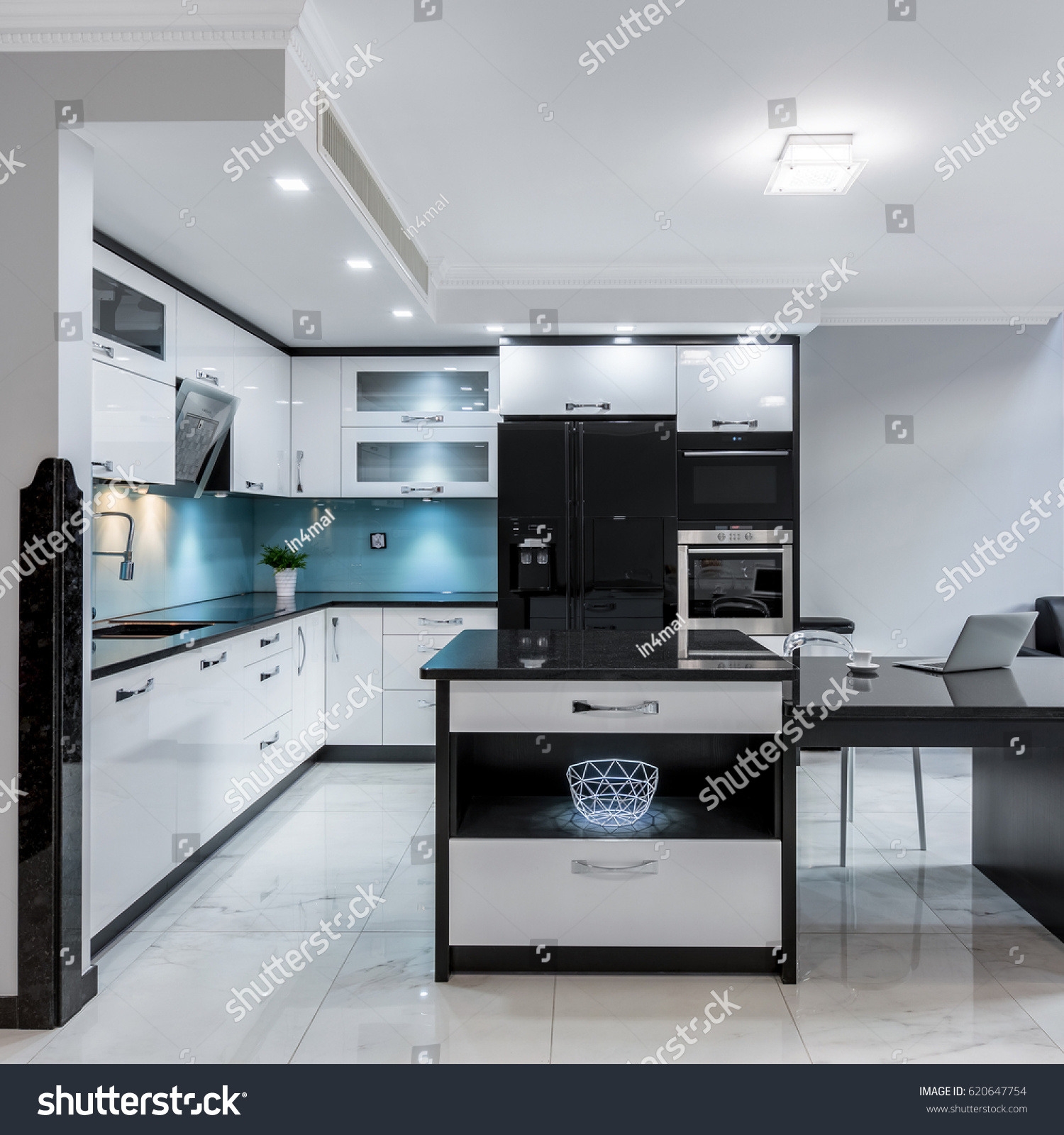 Modern and luxury black and white kitchen space with island | EZ Canvas