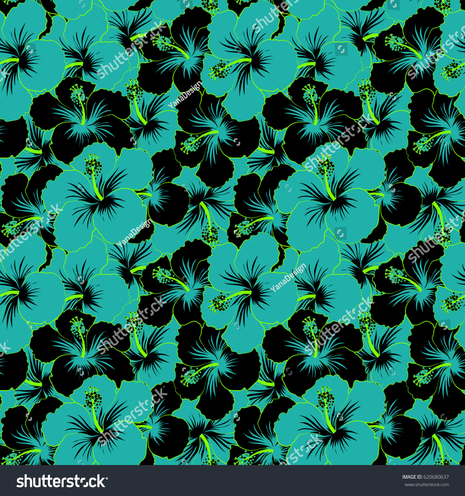 Bright Hawaiian Seamless Pattern With Blue Black And Green Tropical Hibiscus Flowers
