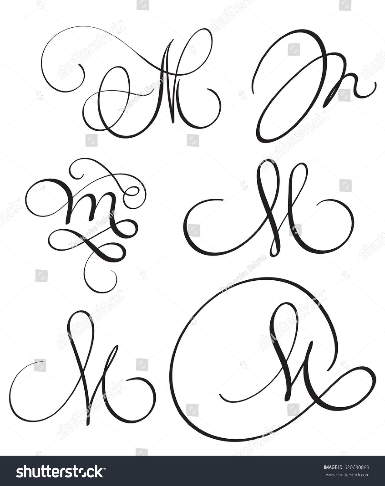 Set Art Calligraphy Letter M Flourish Stock Vector