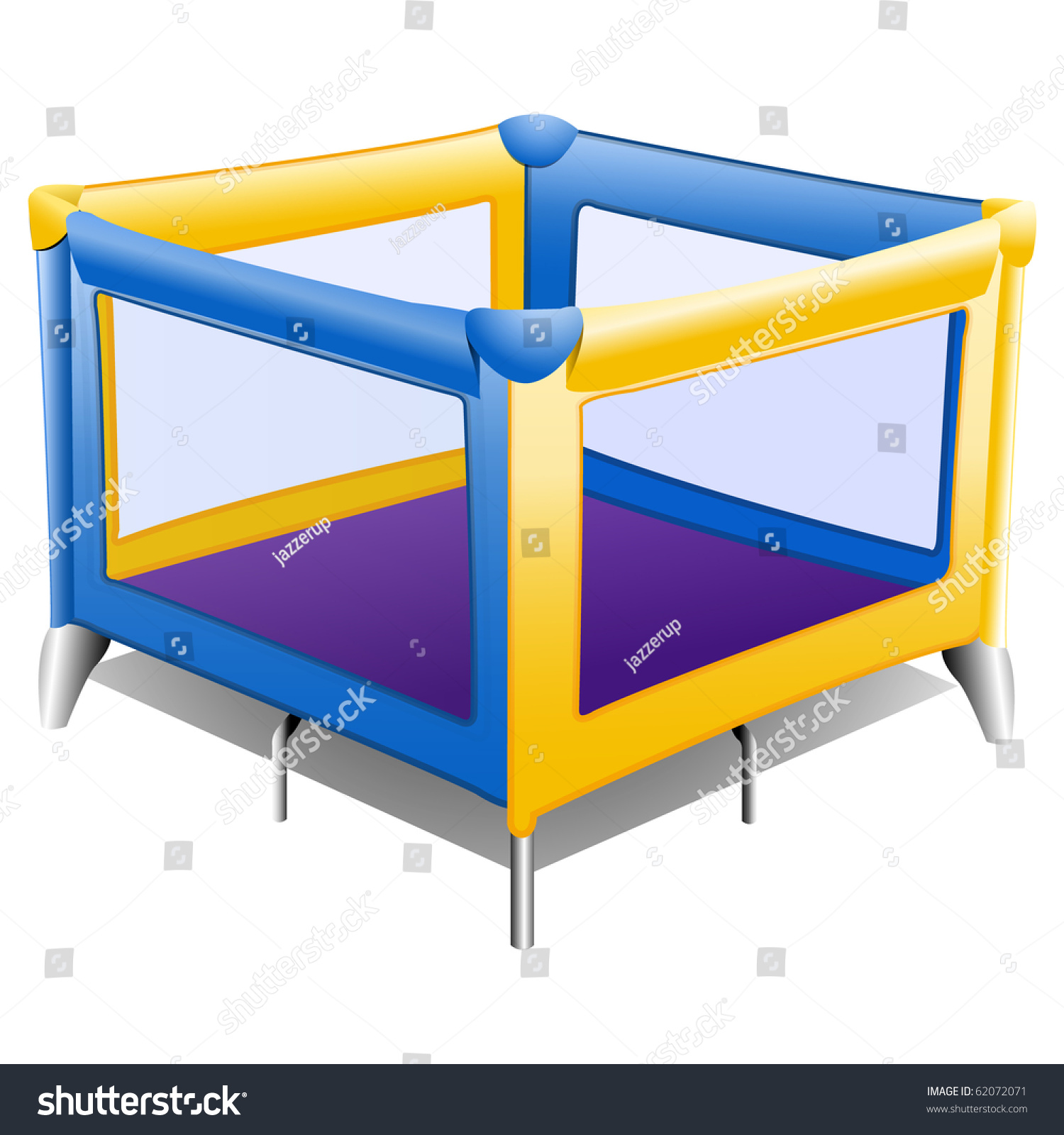 baby wooden playpen  hd photos gallery - stock photo baby playpen in blue and yellow