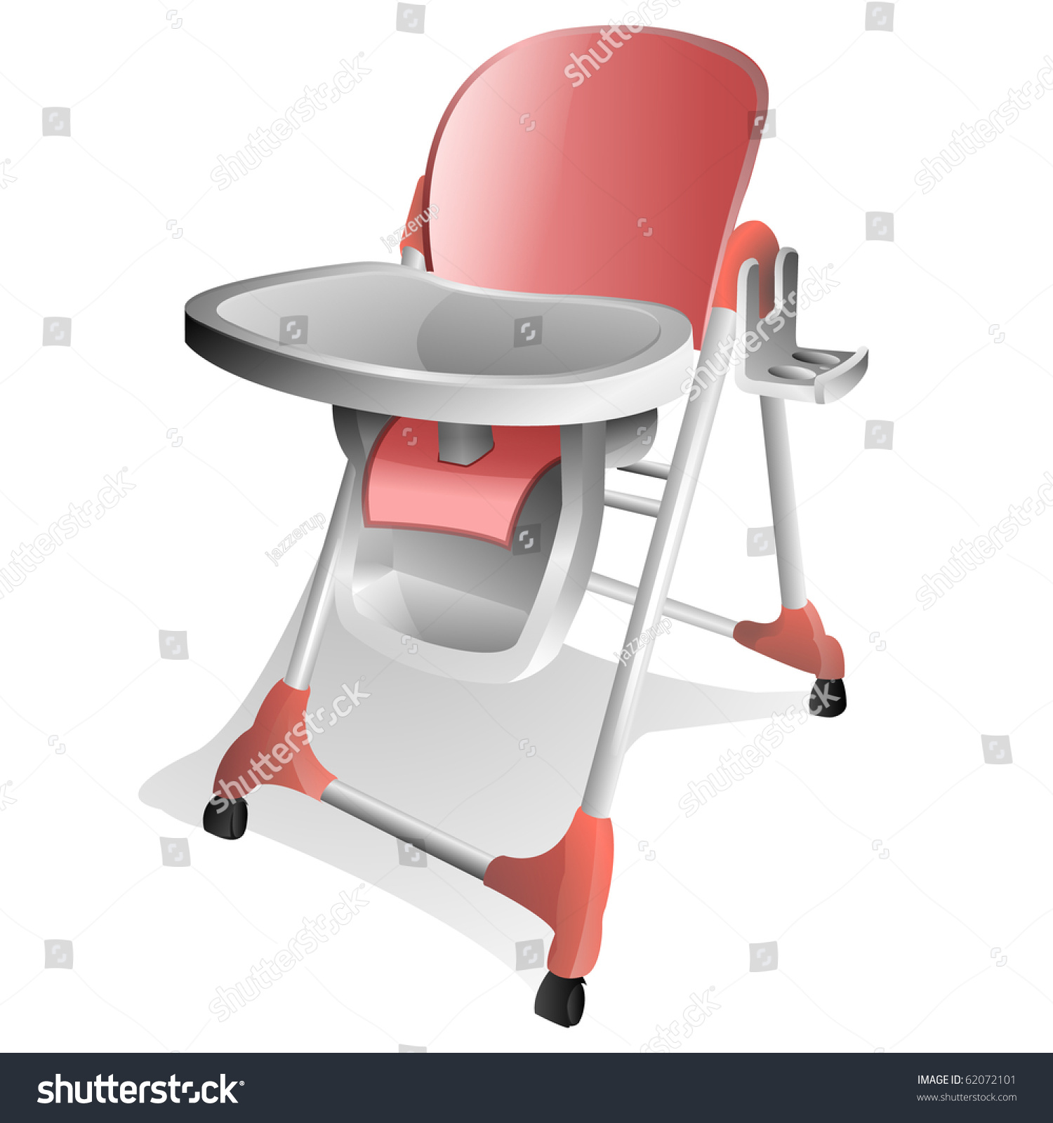 Pink And White Baby High Chair With Tray Stock Photo