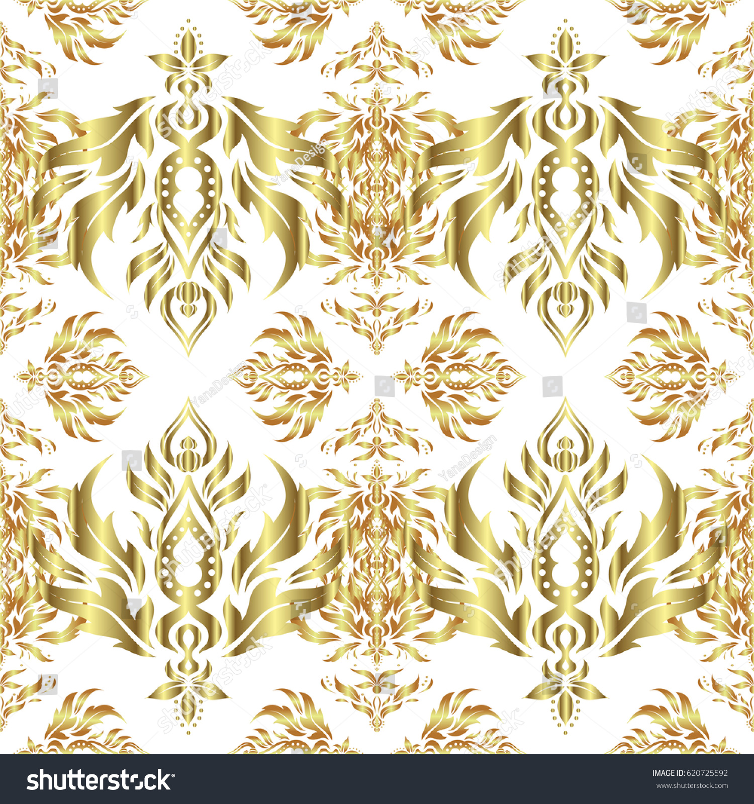 Gold star ornaments - Vector Gold Star Pattern Star Decorations Golden Grid On A White Background Luxury