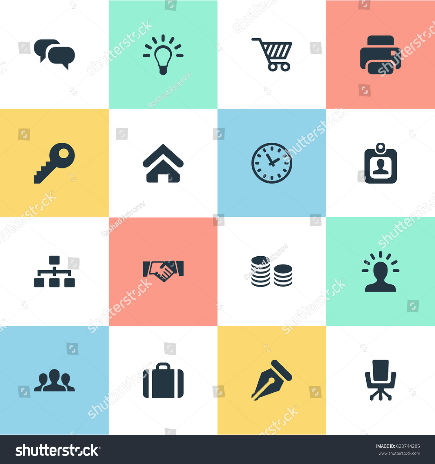 Vector Illustration Set Of Simple Business Icons. Elements Work Seat Handbag Group Synonyms  sc 1 st  Shutterstock & Vector Illustration Set Simple Business Icons Stock Vector 620744285 ...