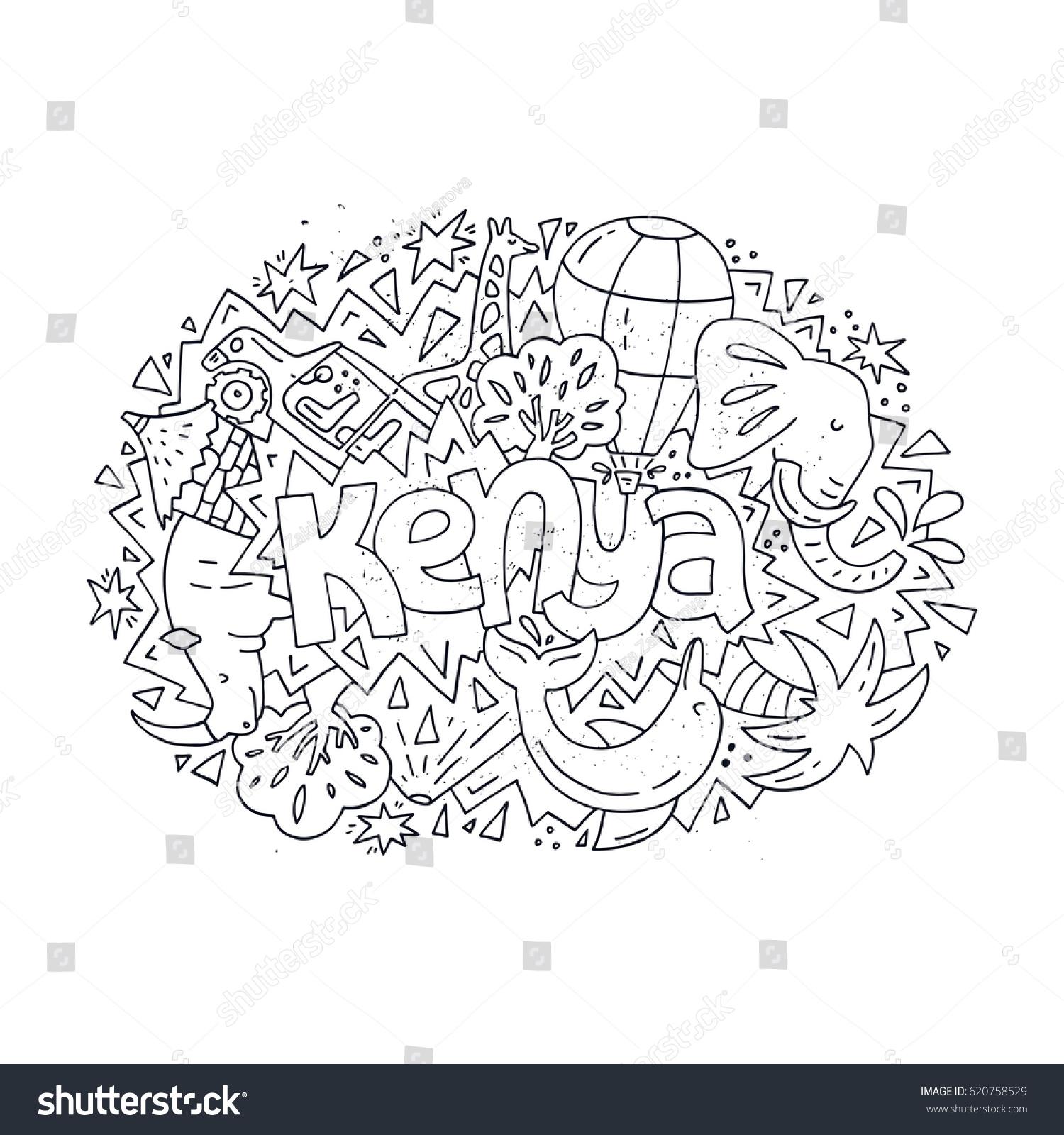 illustration kenya childrens coloring book stock vector