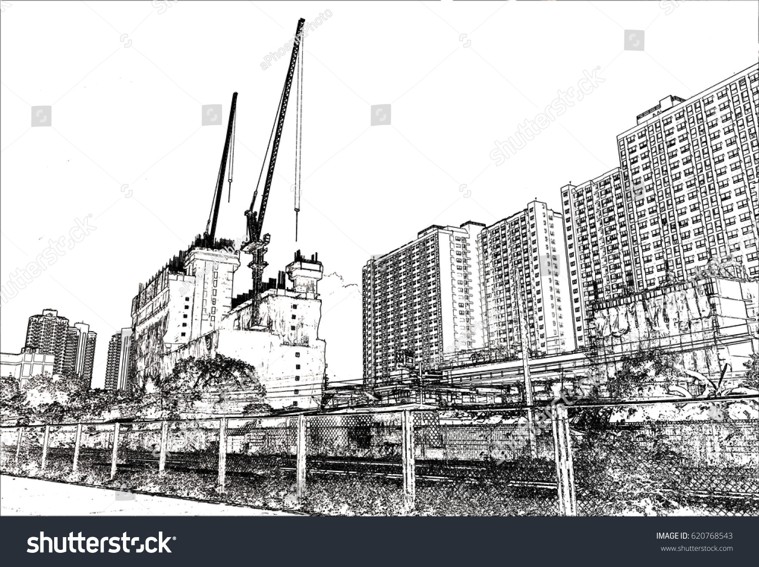 High building landmark sketching Background image with