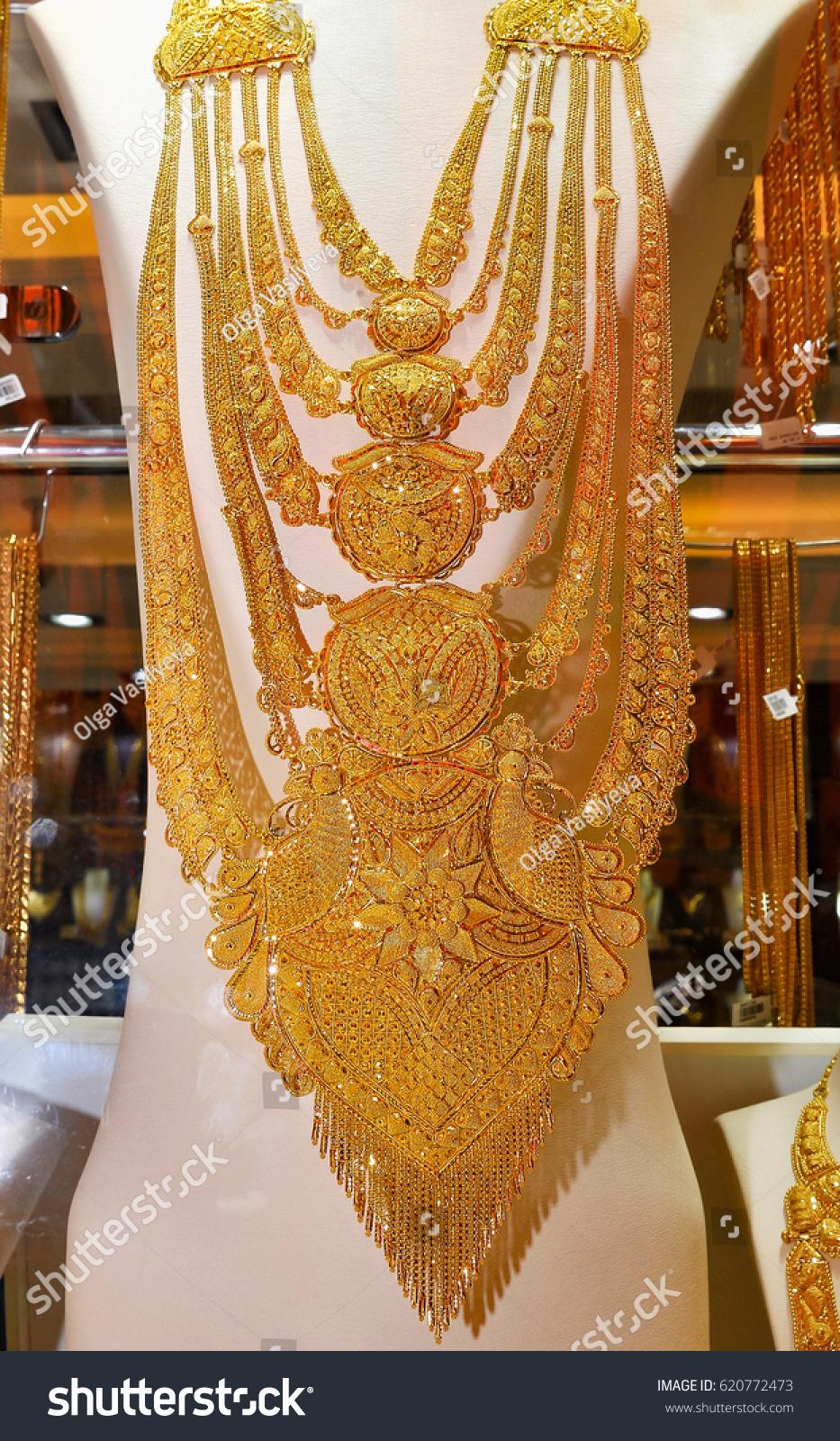 Dubaiuae March 11 2012gold Necklace Precious Stock Photo 620772473 ...