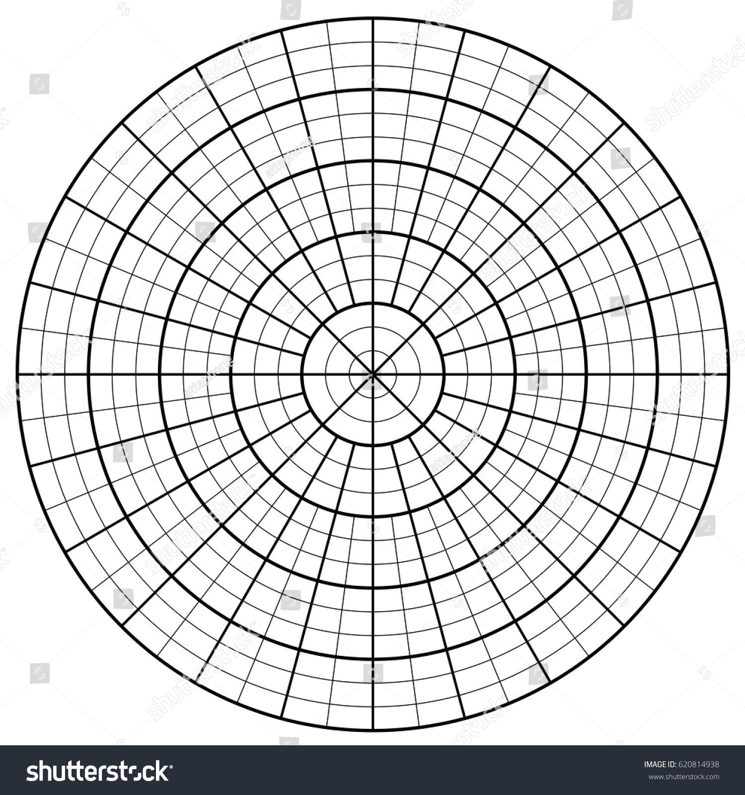 blank polar graph paper protractor pie stock vector (royalty free