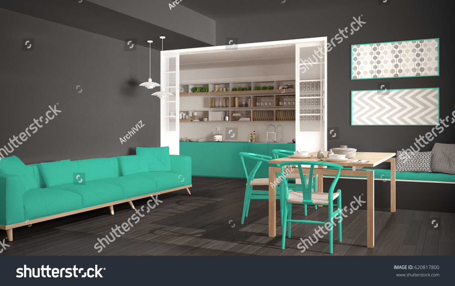 Minimalist kitchen and living room with sofa, table and chairs, gray ...