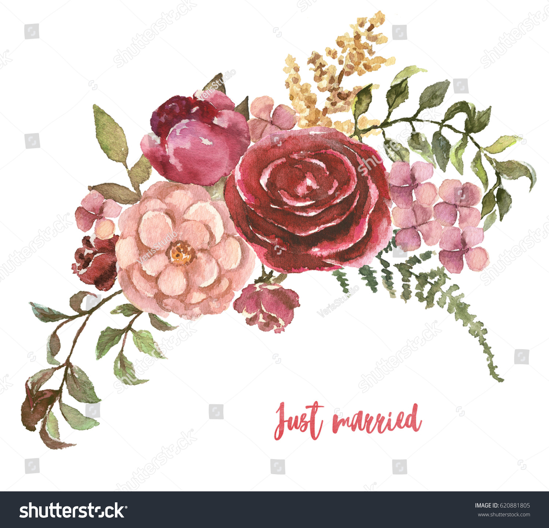 Watercolor Floral Handpainted Illustration Flower Bouquet Stock ...