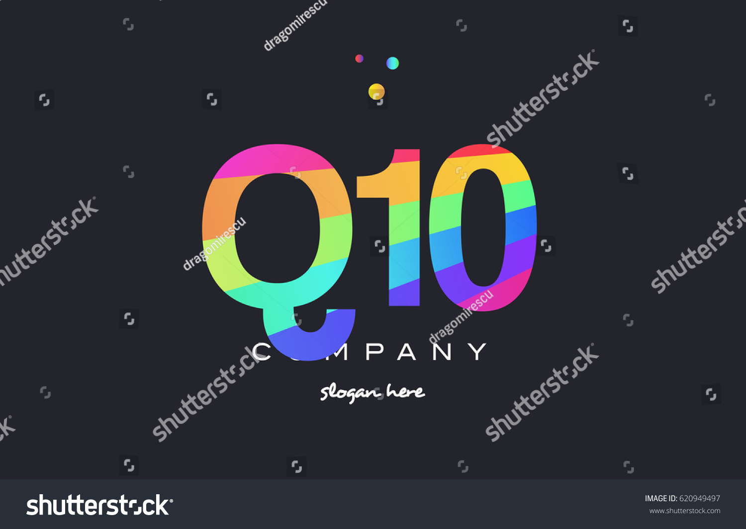 Q10 q 10 ten letter number combination creative color green orange blue  magenta pink company logo