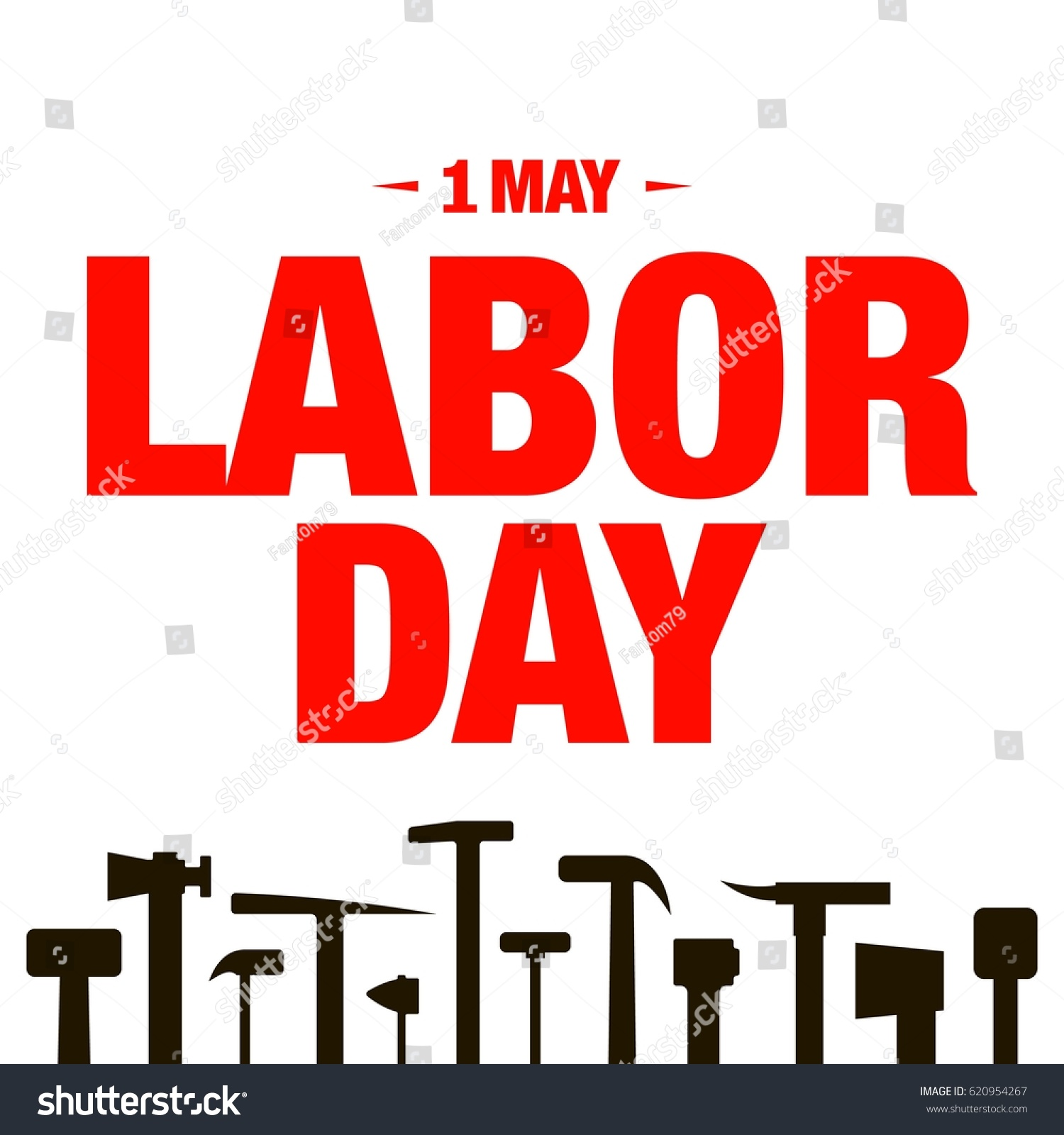 Poster design tools - Vector Illustration With 1 May Labor Day Poster Design With Building Tools Silhouette Icons On White