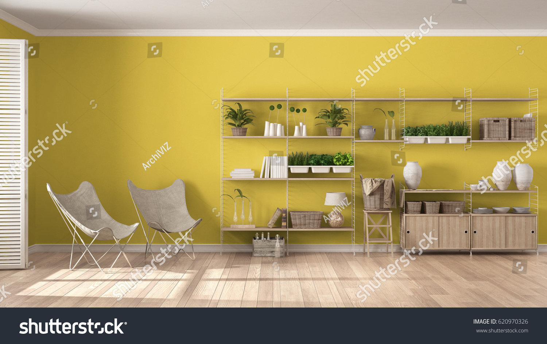 Eco White Yellow Interior Design Wooden Stock Illustration 620970326 ...