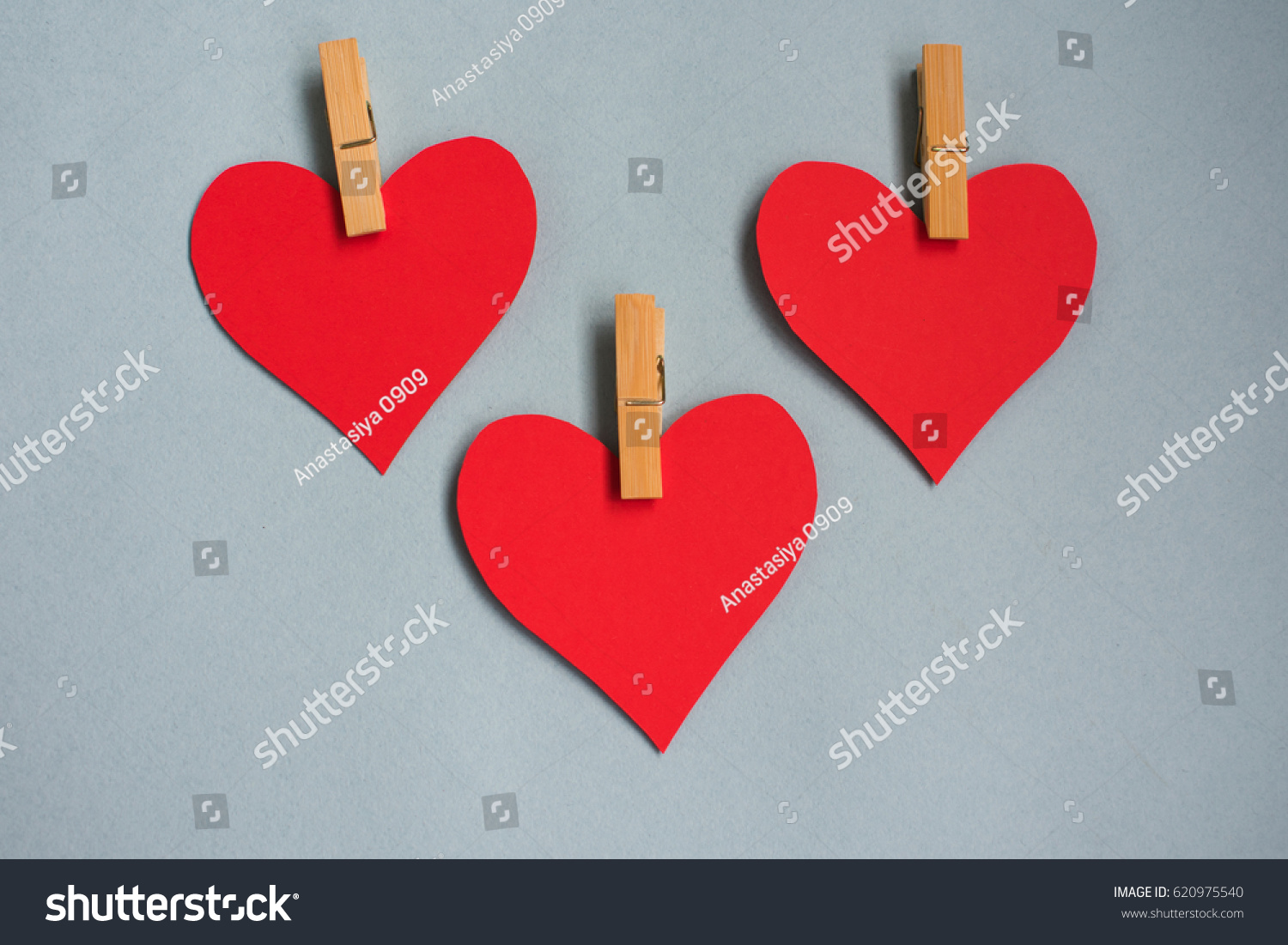 Background Blue Three Hearts Symbol Family Stock Photo Edit Now
