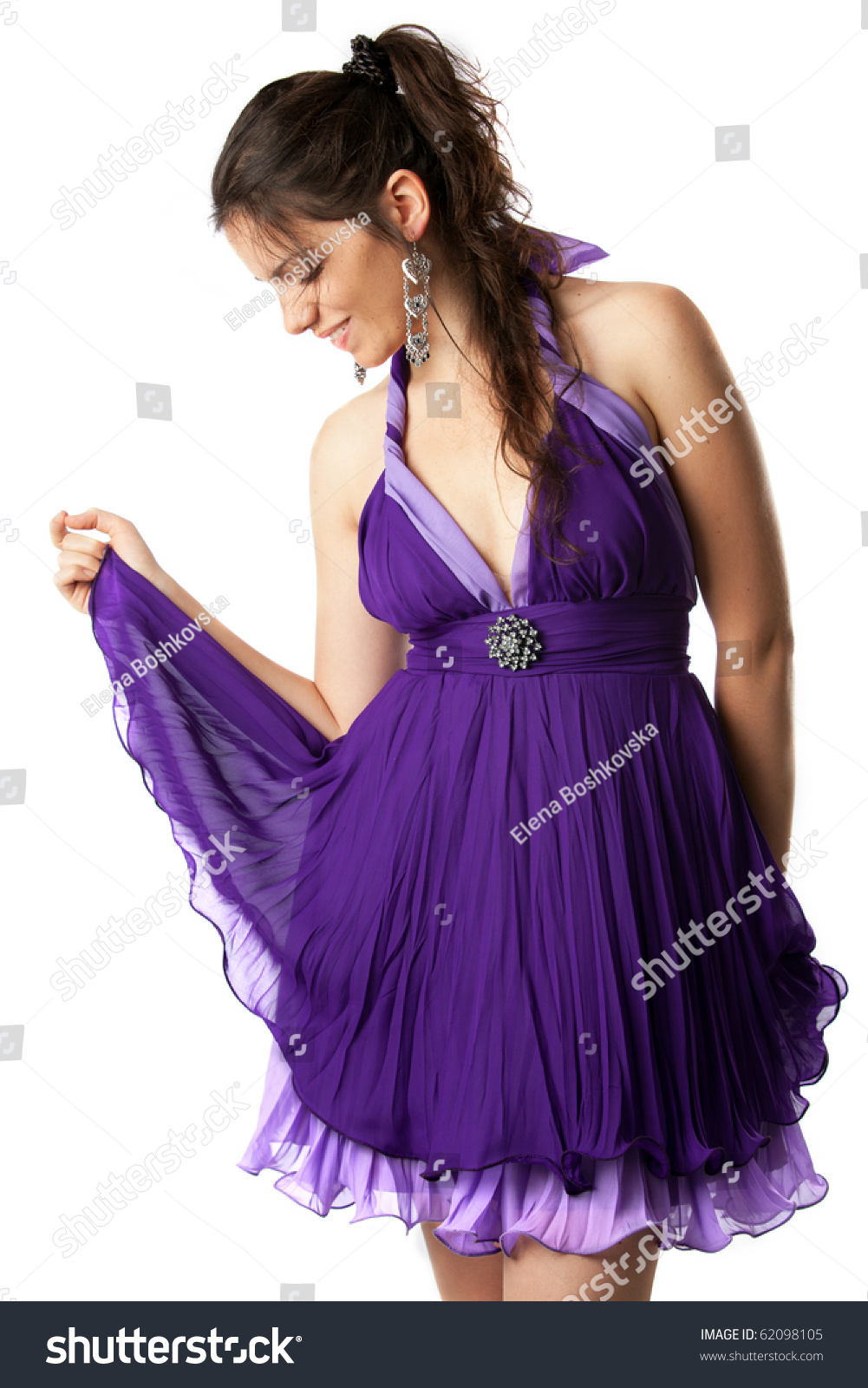 Beautiful Happy Young Girl Prom Dress Stock Photo 62098105 ...
