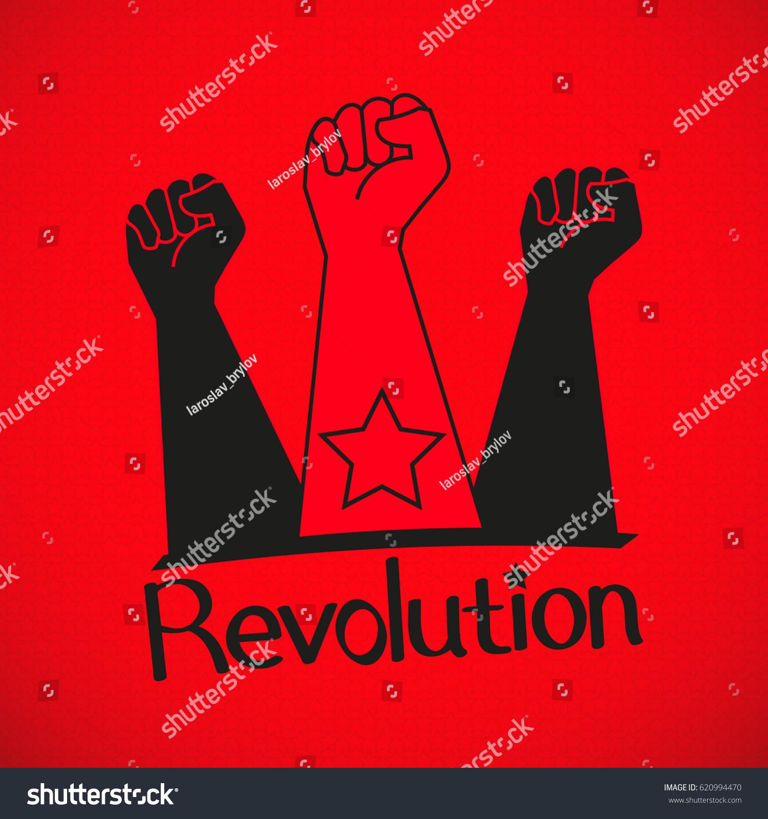 Human Hand Proletarian Revolution Vector Illustration