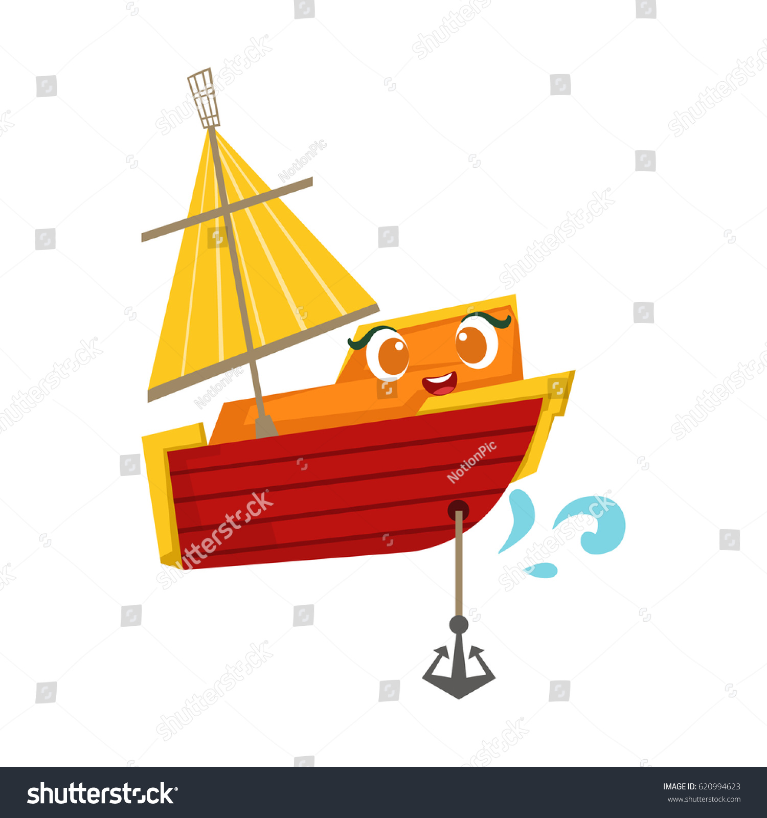 Orange Red Sailing Boat Anchor Cute Stock Vector 620994623 ...