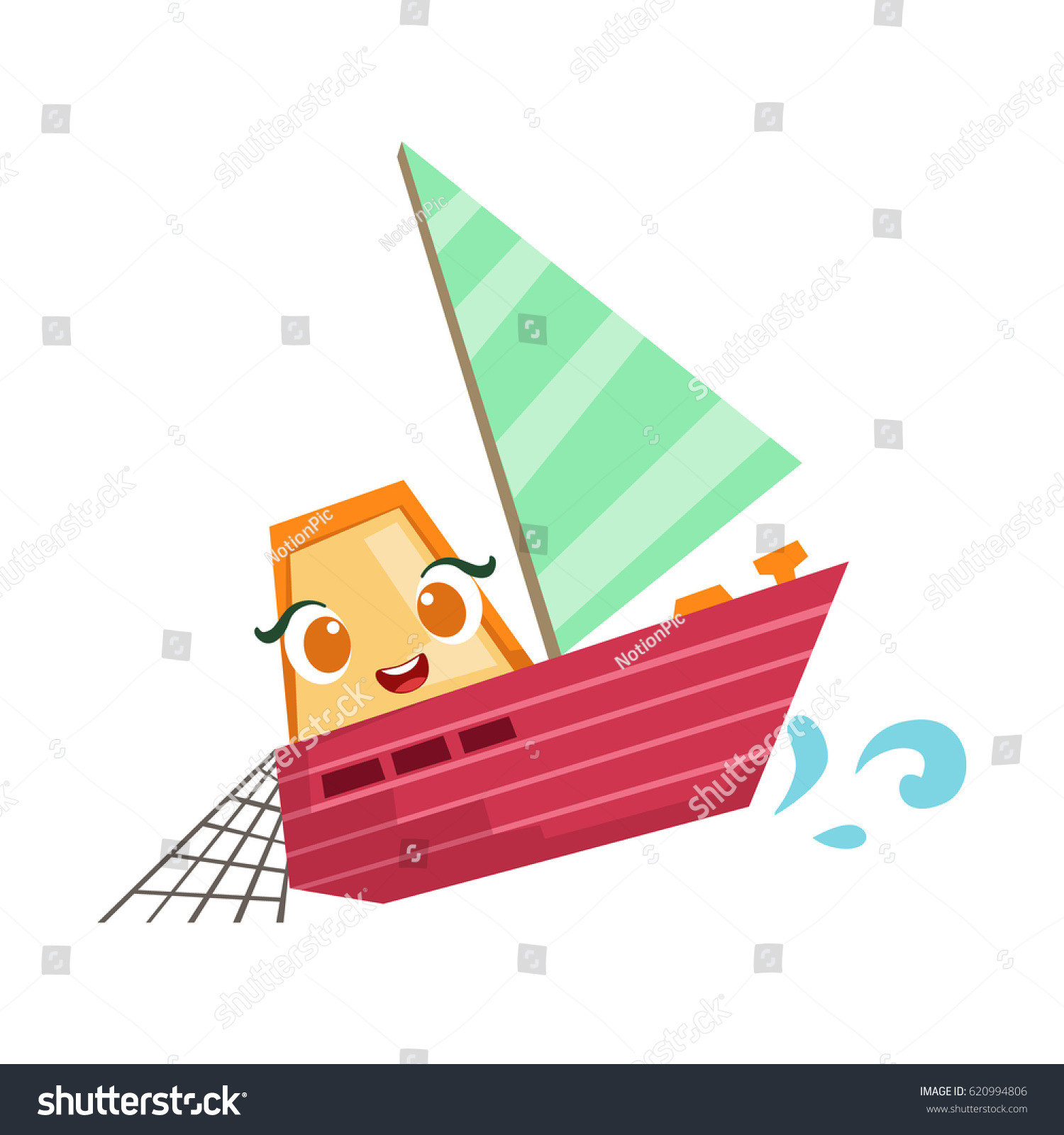 Sailing Fisherman Fishing Boat Cute Girly Stock Vector 620994806 ...