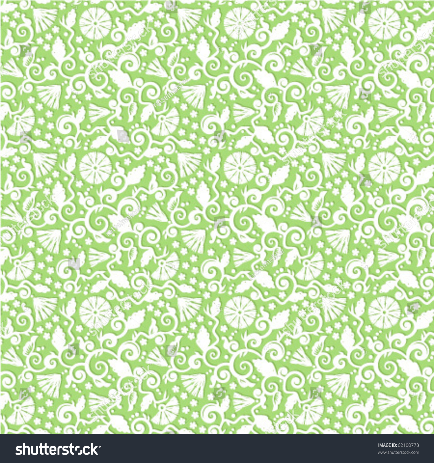 Seamless Light Green White Floral Pattern Stock Vector ...
