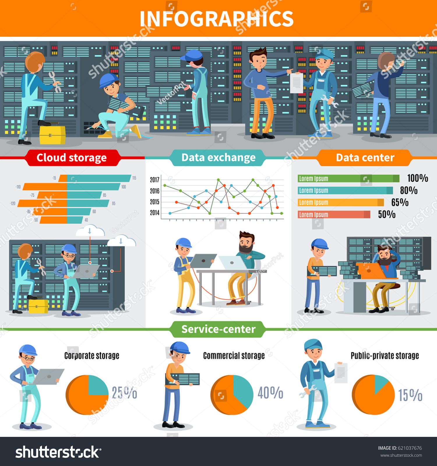 datacenter engineers infographic concept with repair and diagnostic services of cloud storage hosting and database vector - Database Engineers