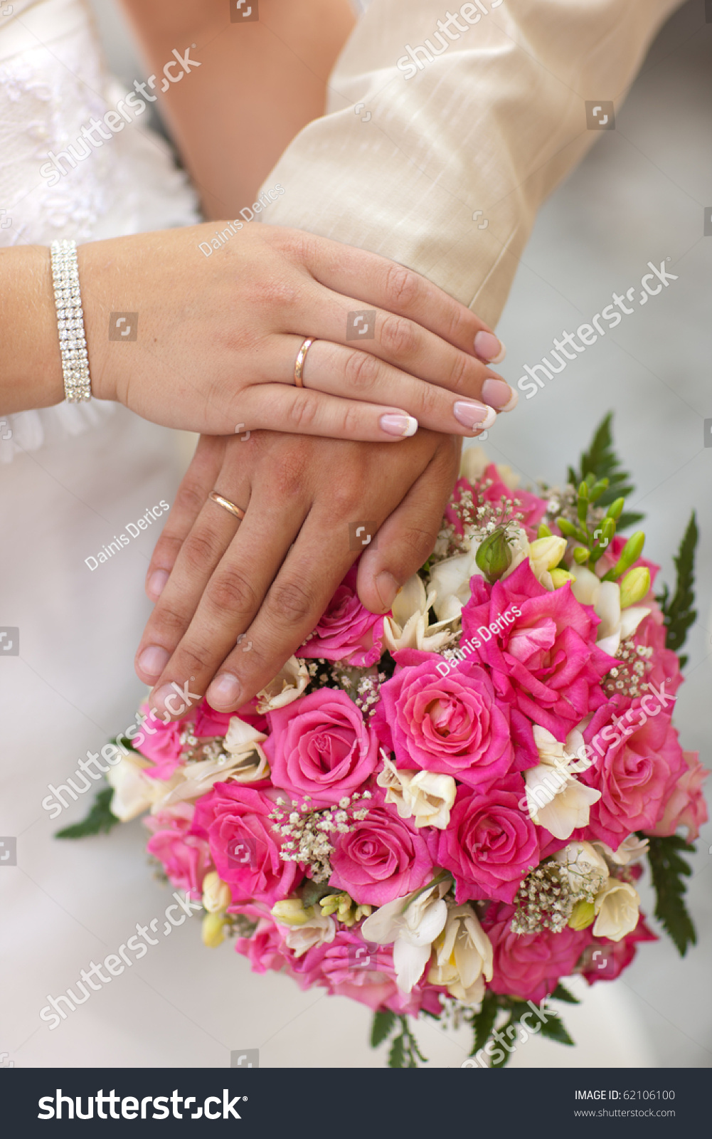 Hands Just Married Couple Marriage Rings Stock Photo & Image ...