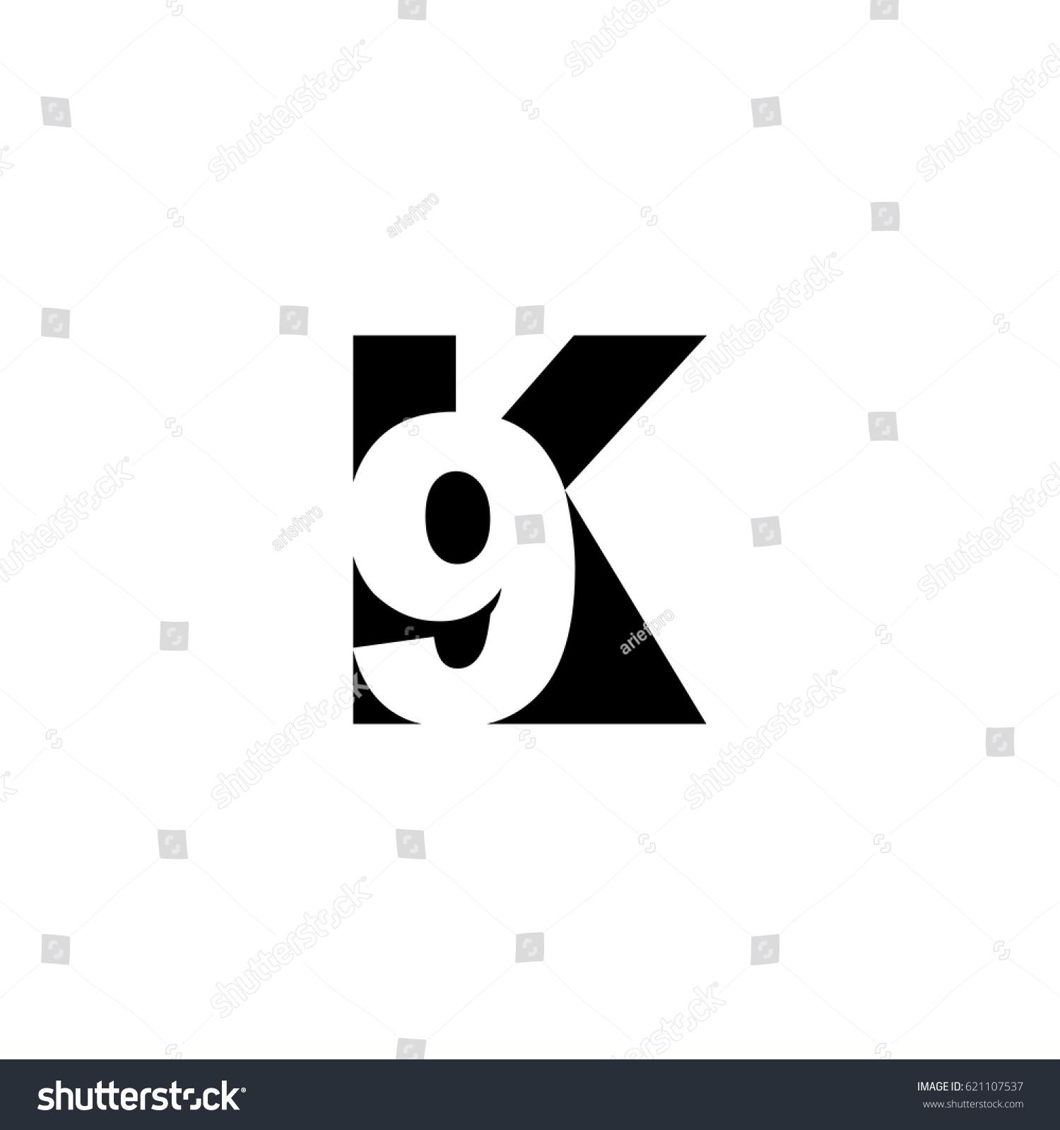 initial letter number logo k 9 stock vector 621107537 shutterstock