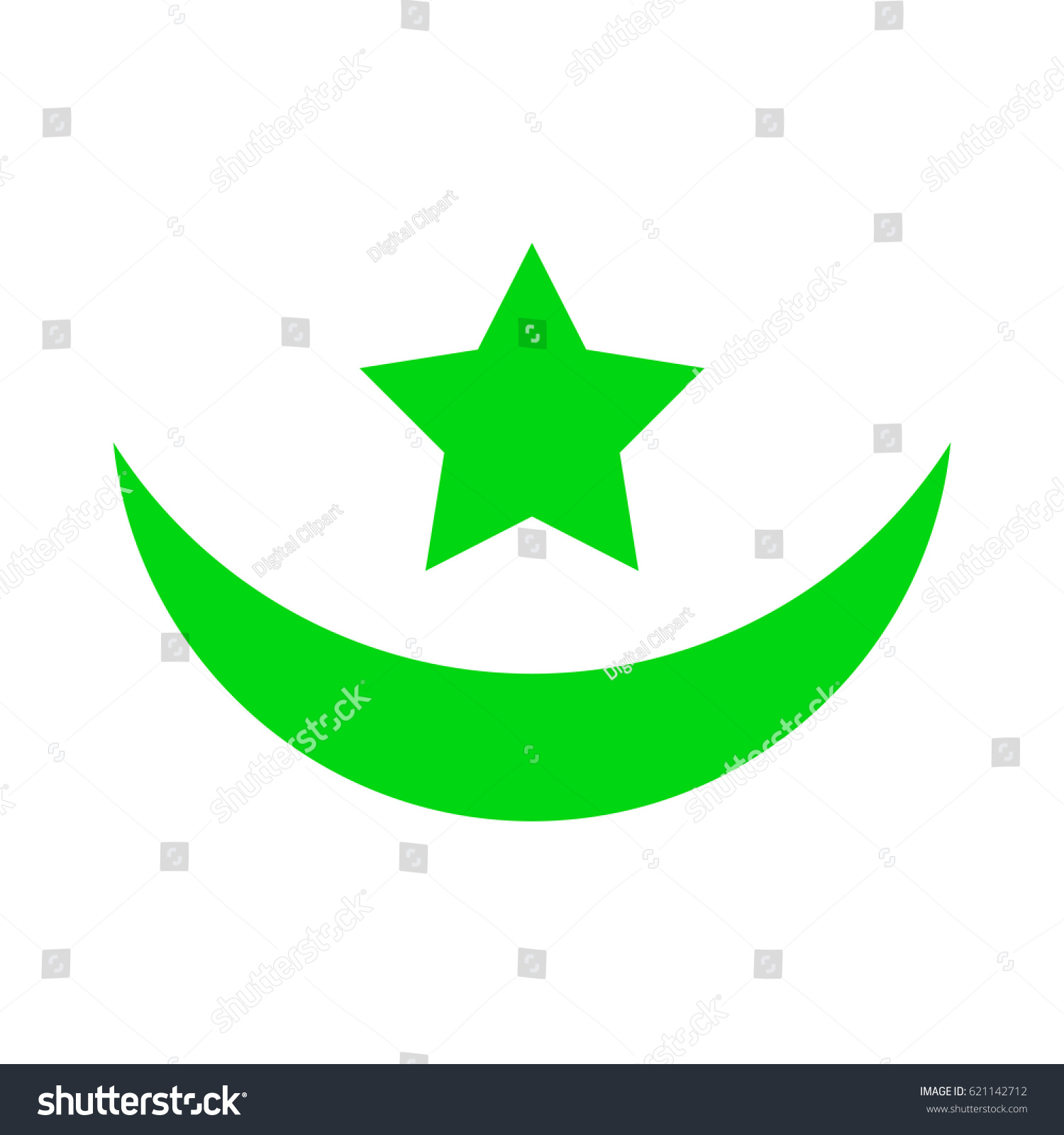 Muslim Symbol Vector Pictograph Flat Illustration Stock Vector