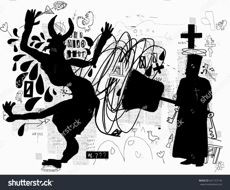 Symbolic image like orthodox priest banishing stock vector 621157145 a symbolic image like an orthodox priest banishing the devil with a big broom biocorpaavc Images