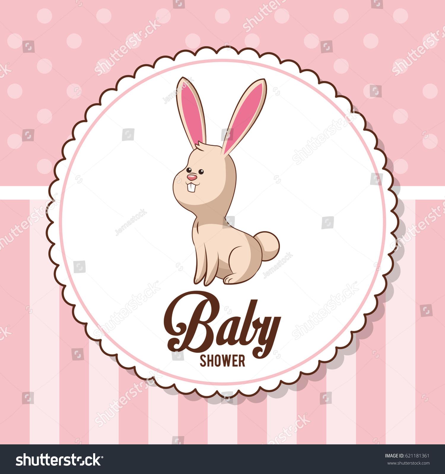 Baby Shower Card Invitation Bunny Decorative Stock Vector