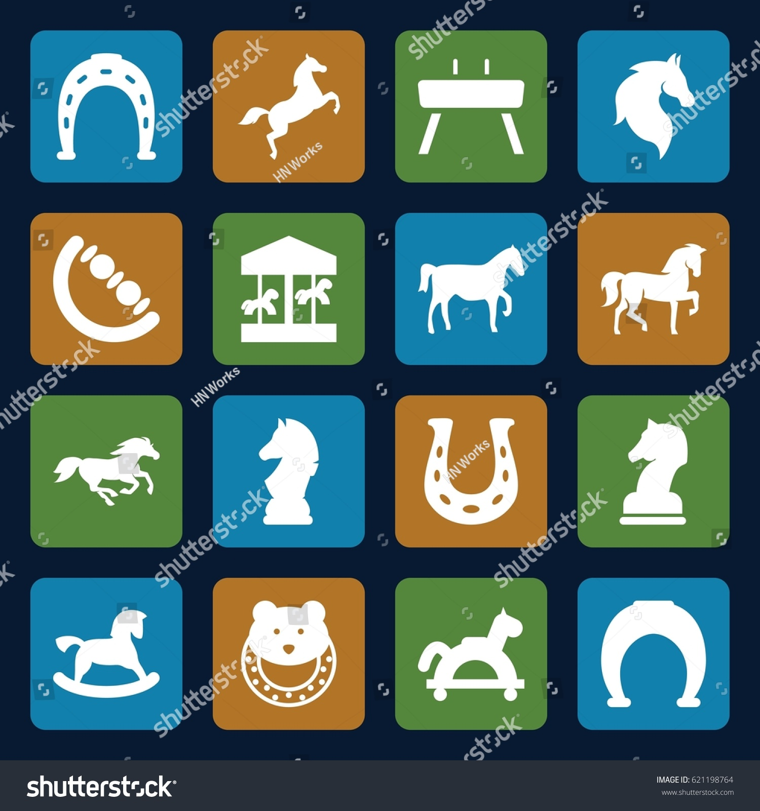 Horse Icons Set Set 16 Horse Stock Vector Shutterstock