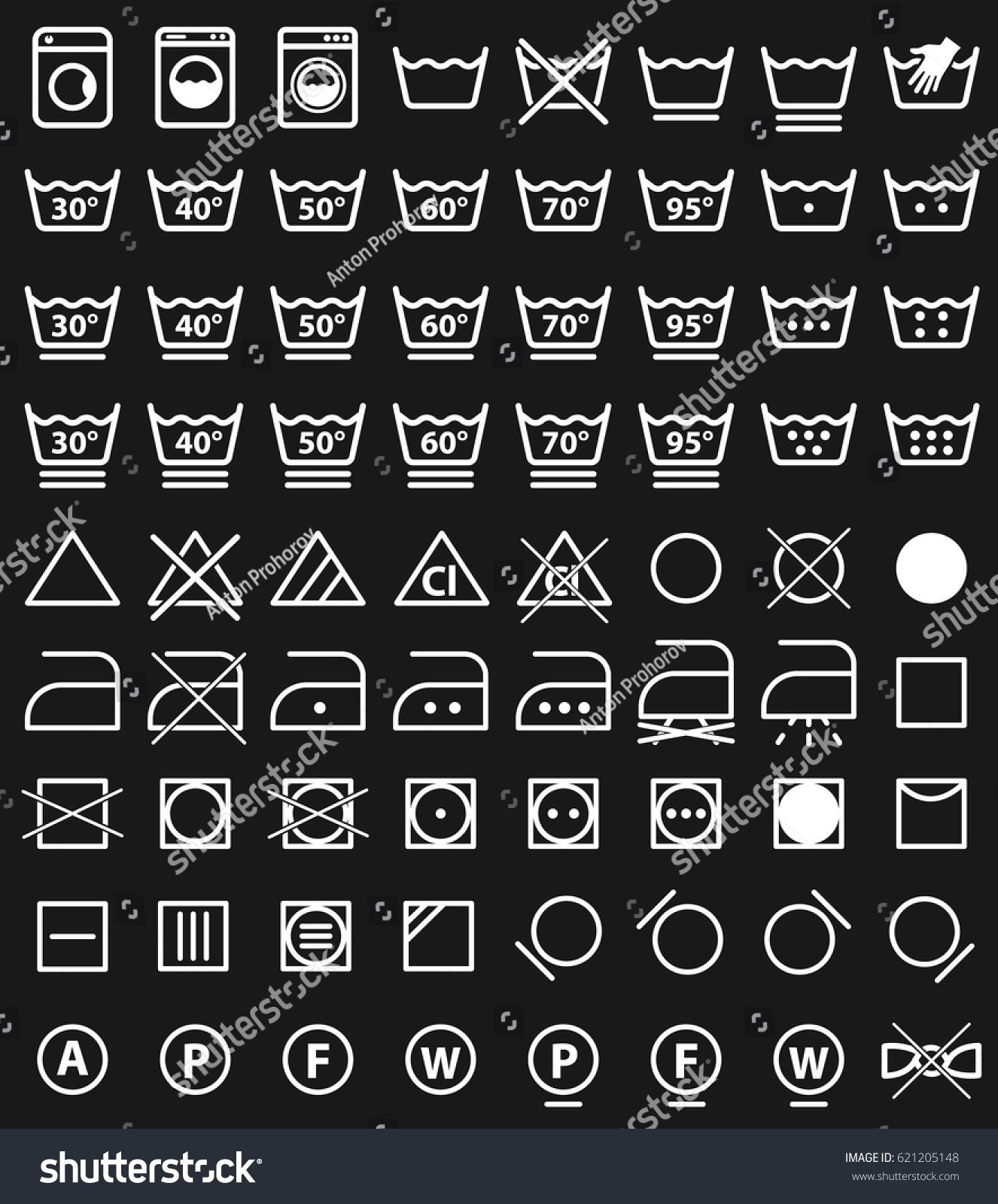 Laundry Instruction Icons Washing Care Symbols Stock Vector Royalty