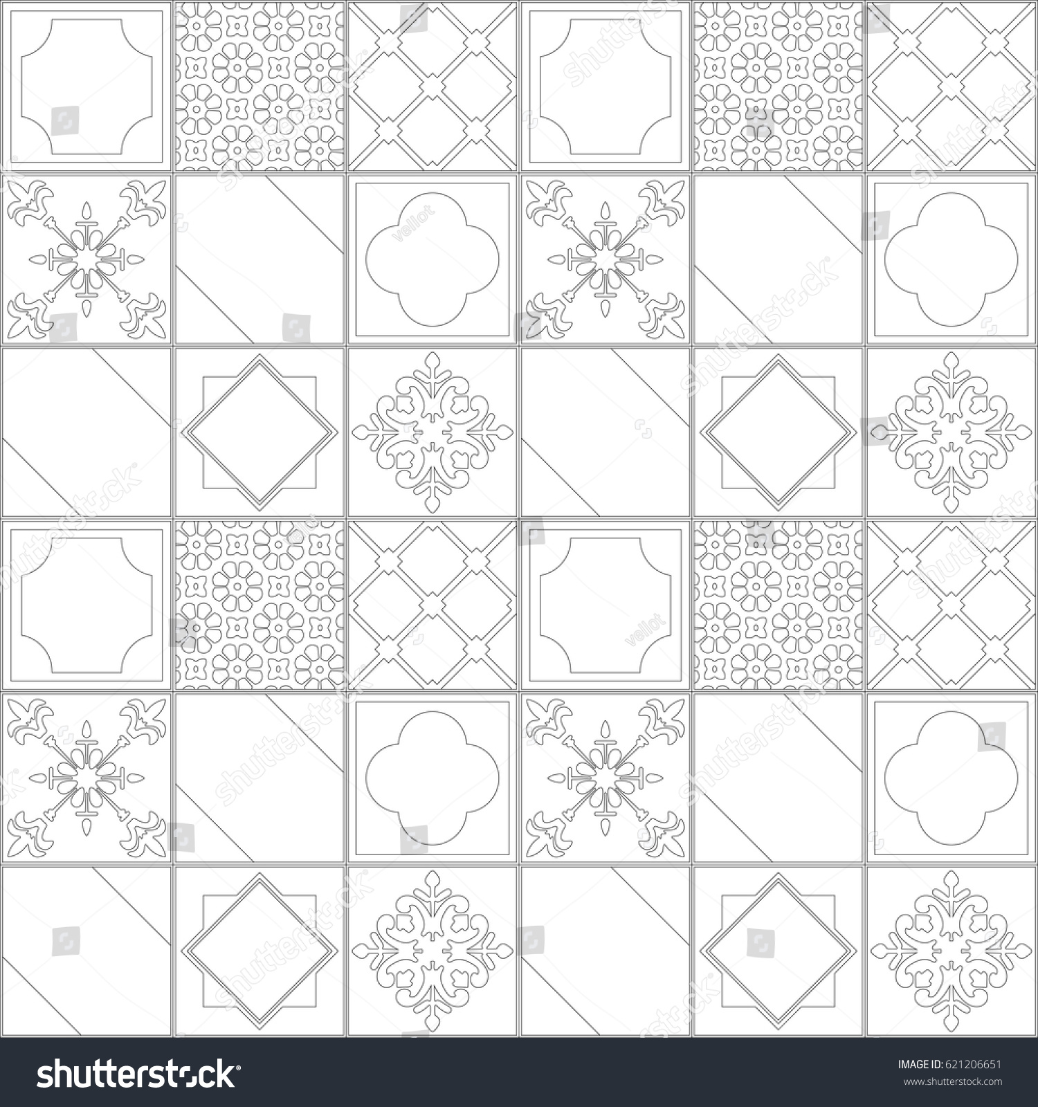 Modern Arabic Square Tile Pattern Vector Stock Vector 621206651 ... for Modern Arabic Pattern Vector  117dqh