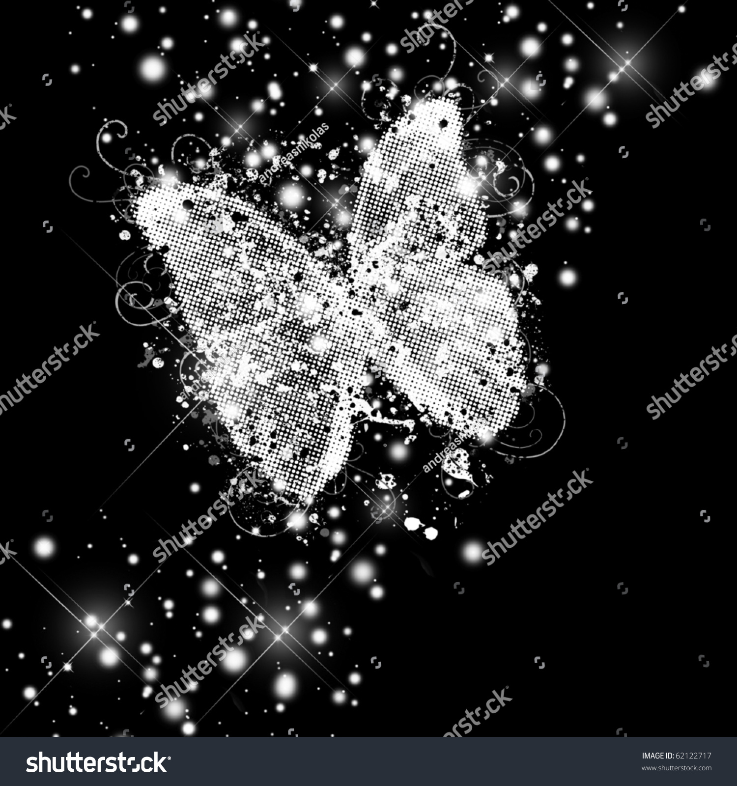 Abstract Glamorous Butterfly On Black Background Stock ...