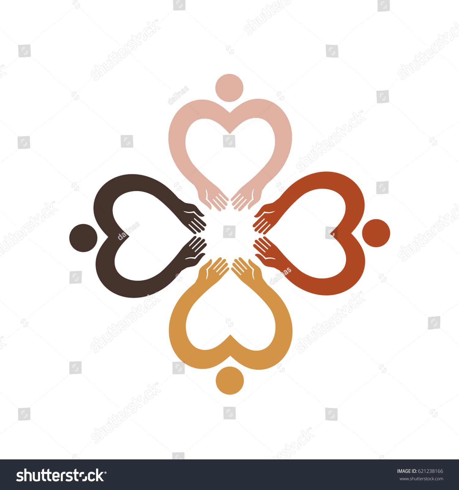 Flower quatrefoil composed four human figures stock vector flower quatrefoil composed of four human figures with different skin color vector icon symbol biocorpaavc Image collections