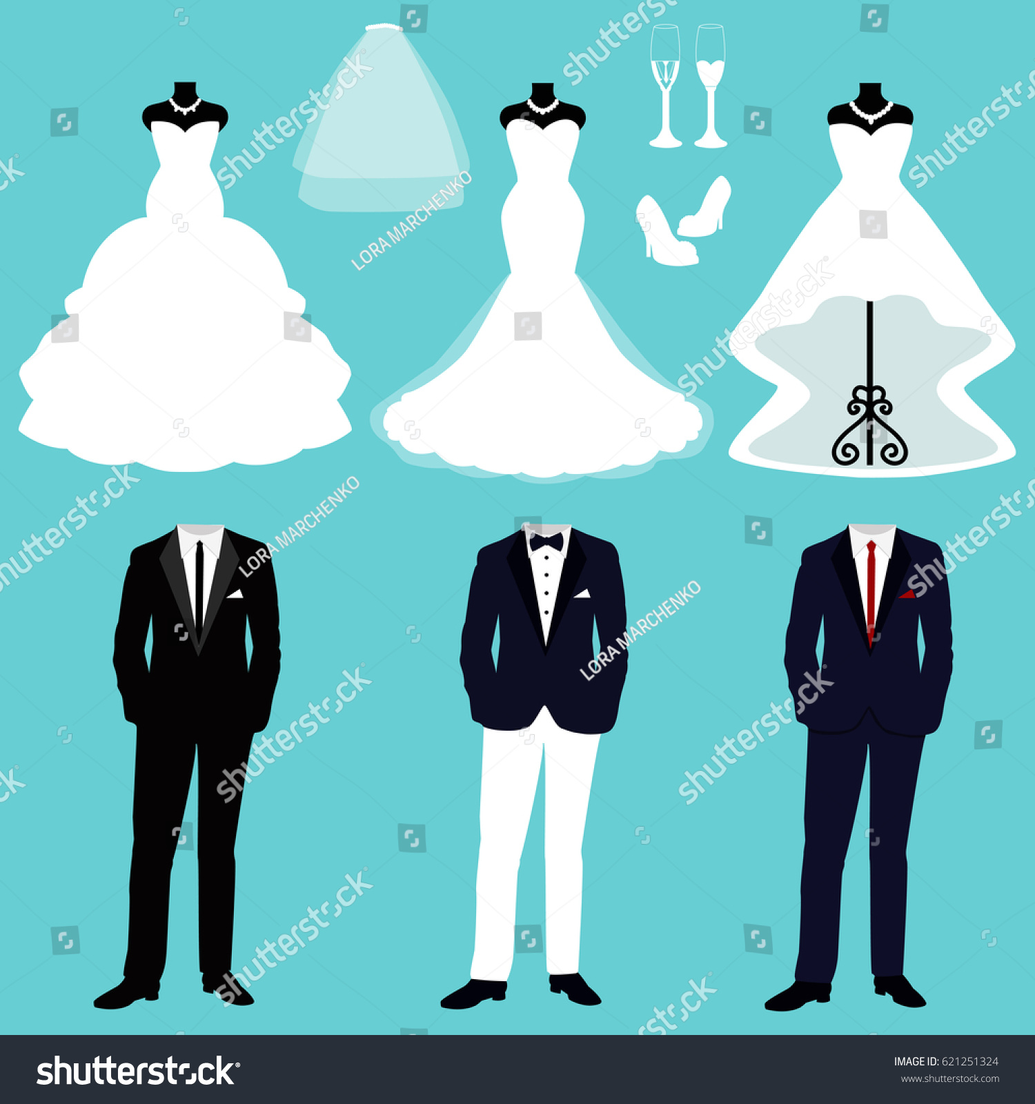 Wedding Card Clothes Bride Groom Set Stock Vector 621251324 ...