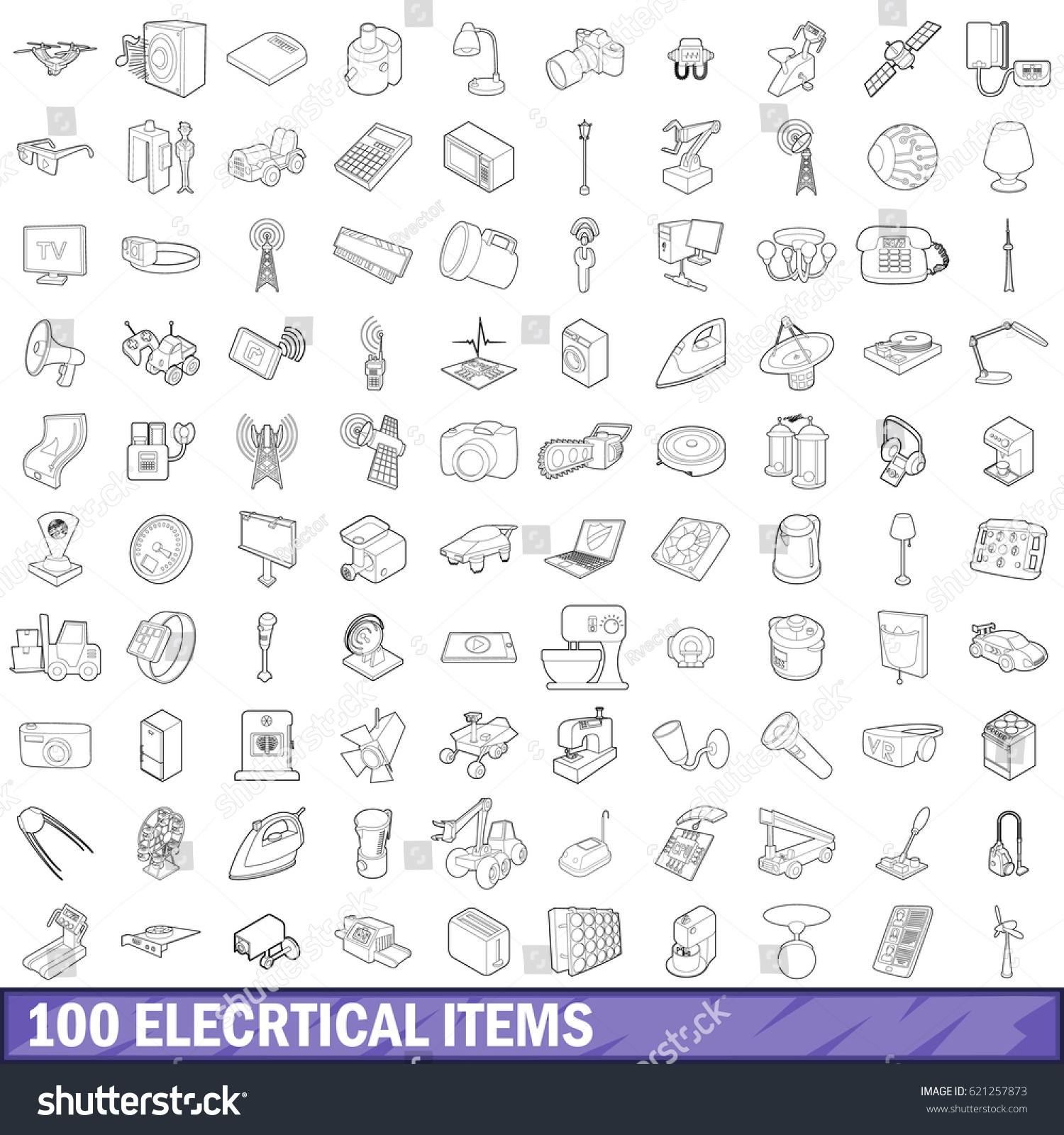 100 Electrical Items Icons Set In Outline Style For Any Design Illustration